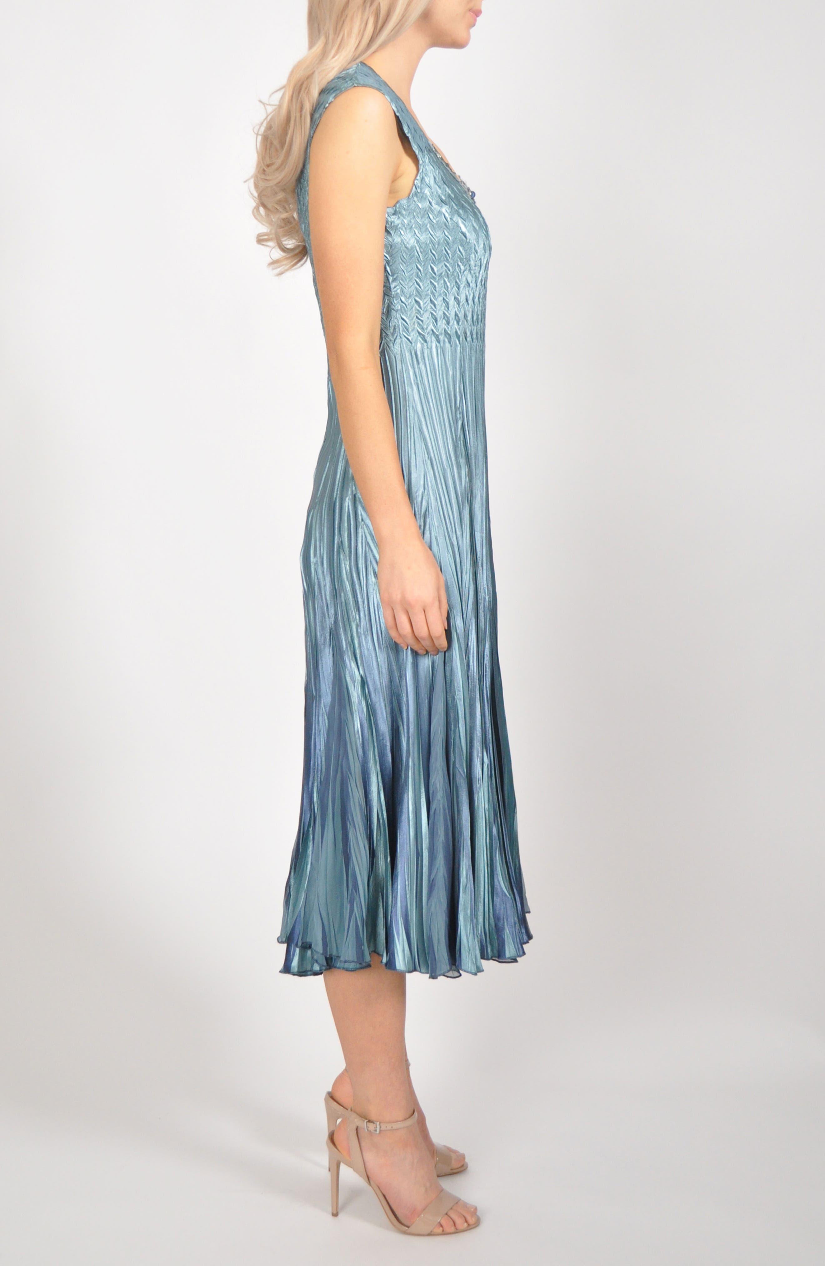 KOMAROV, Embellished Pleat Mixed Media Dress with Jacket, Alternate thumbnail 5, color, 405