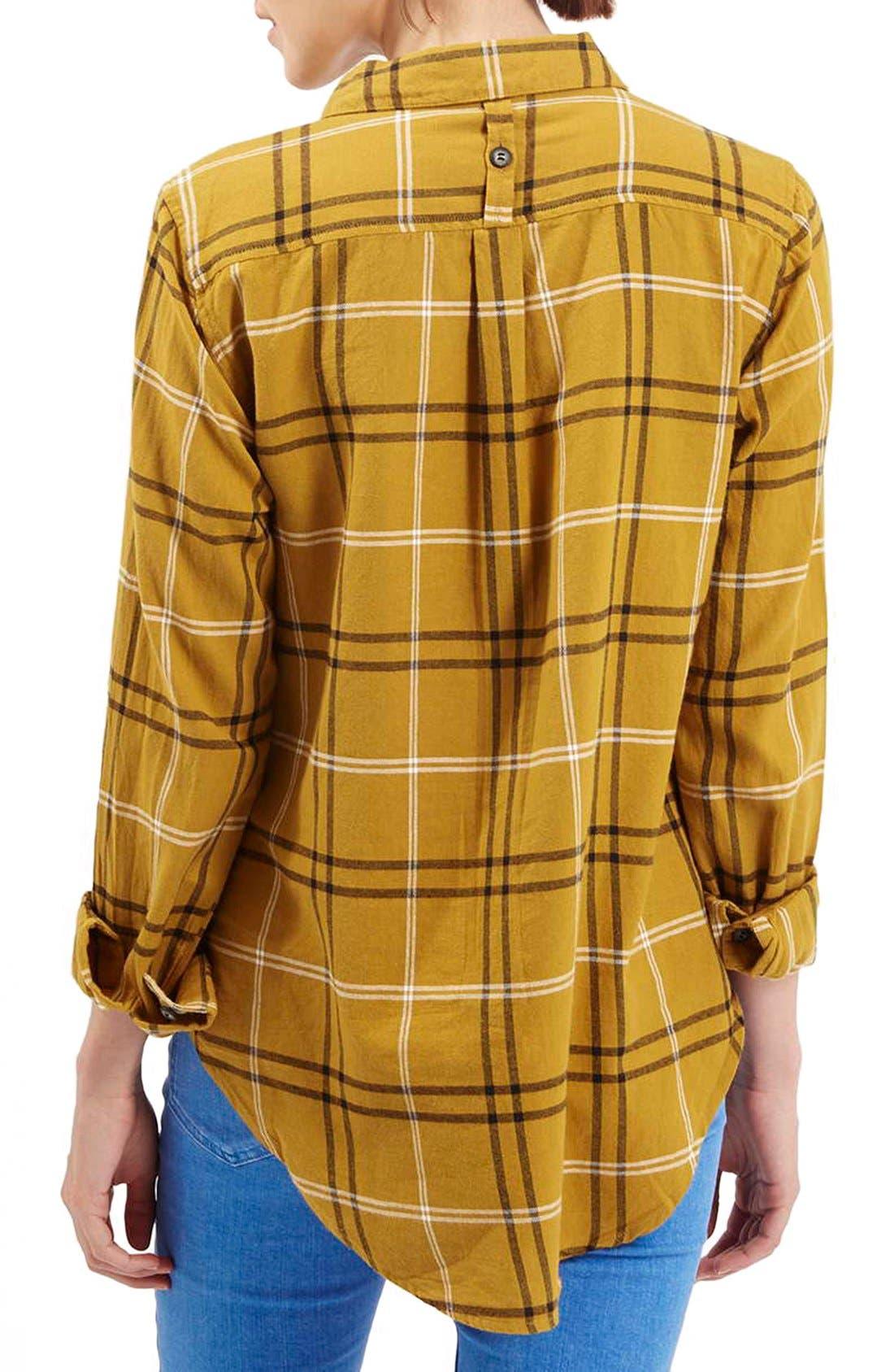 TOPSHOP, 'Billie' Check Button FrontBoyfriend Shirt, Alternate thumbnail 2, color, 701