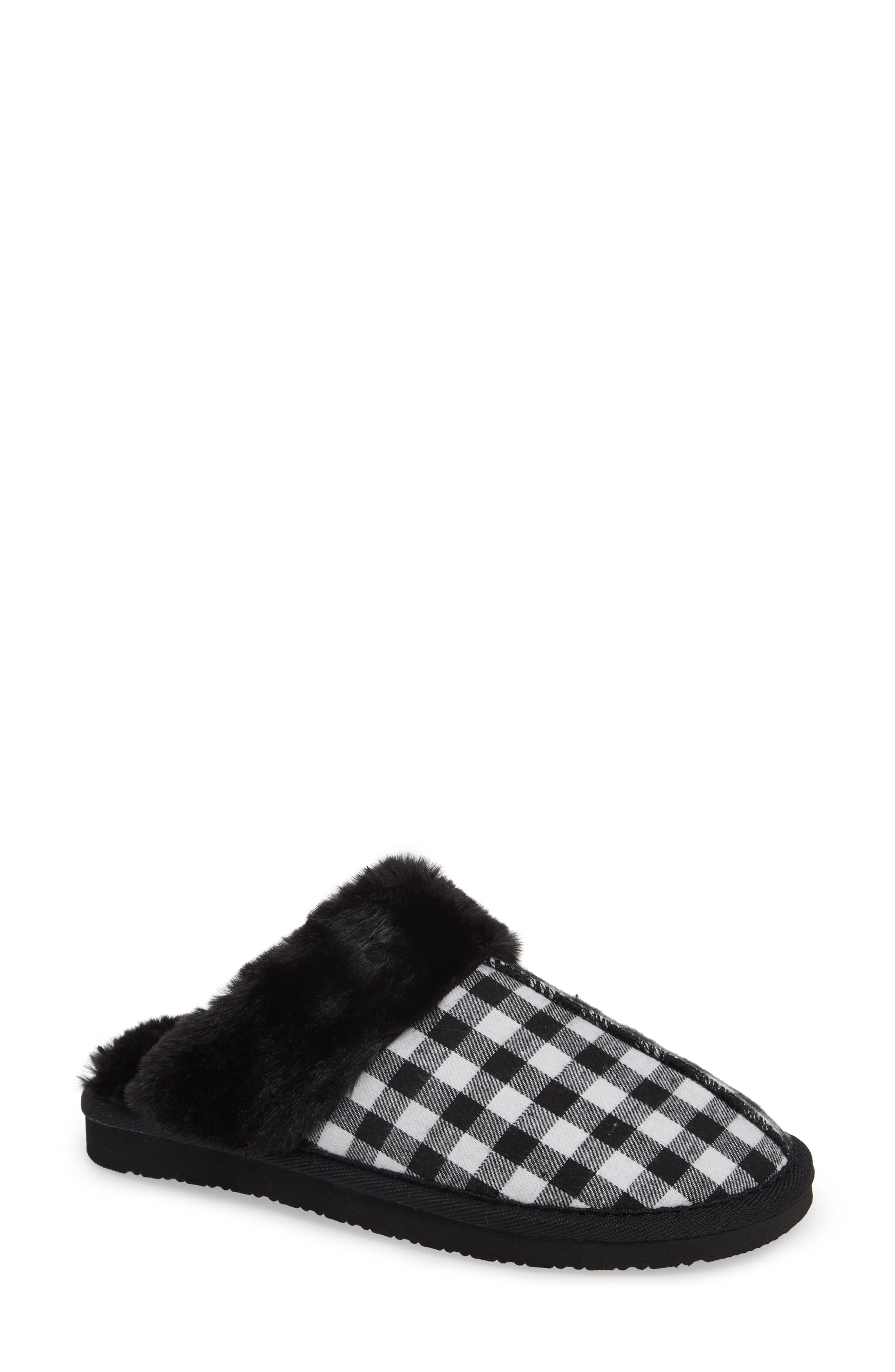 MINNETONKA Mule Slipper, Main, color, BLACK/ WHITE PLAID FABRIC