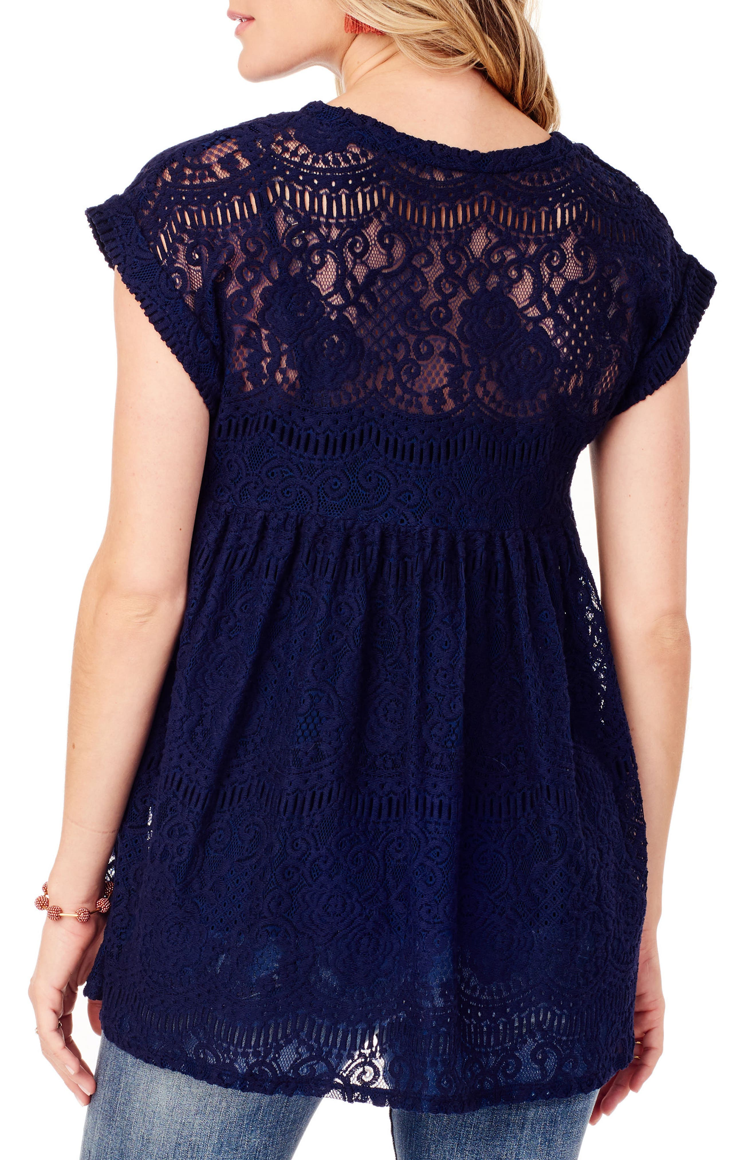 INGRID & ISABEL<SUP>®</SUP>, Lace Maternity Swing Top, Alternate thumbnail 2, color, TRUE NAVY