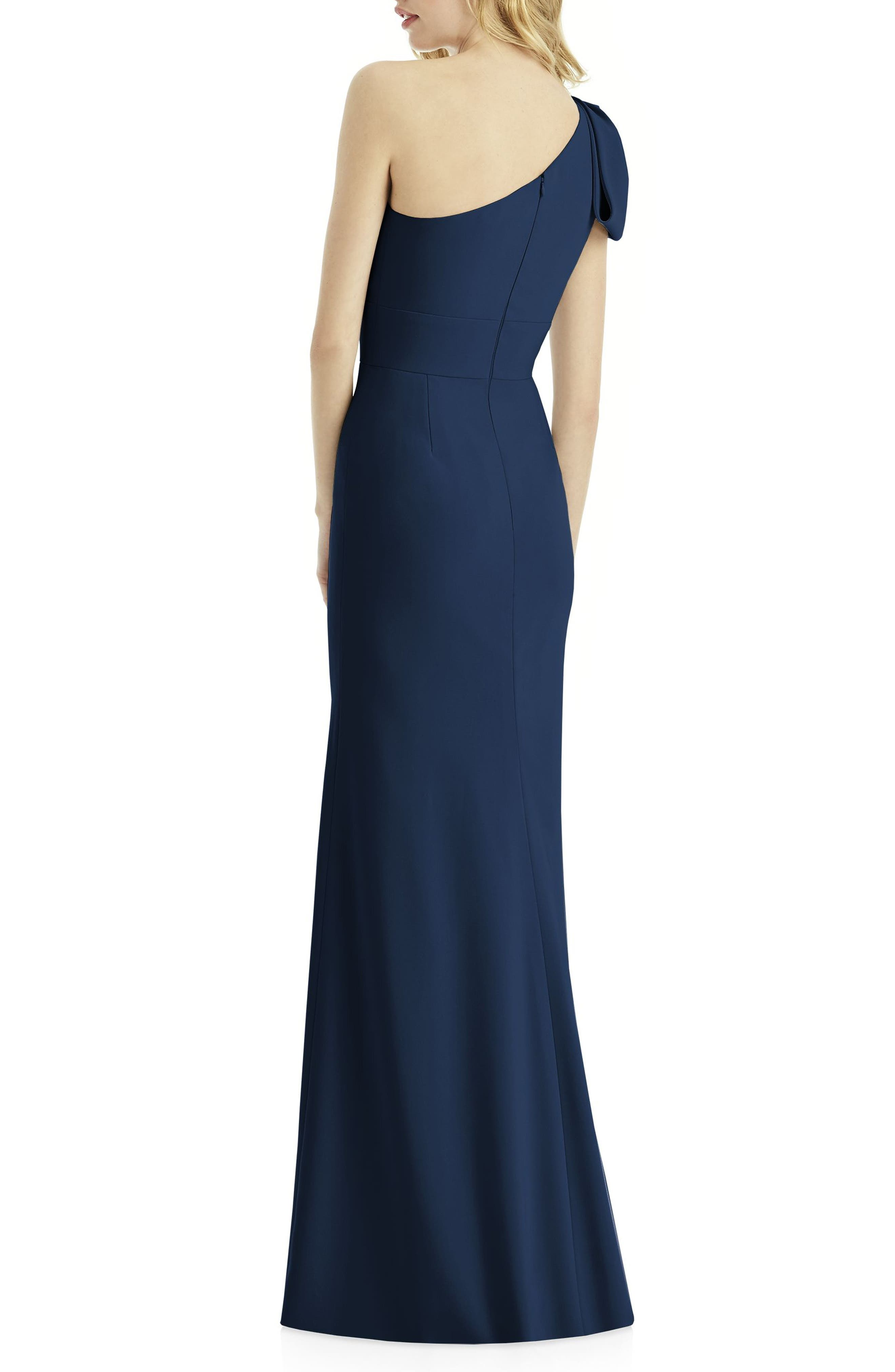 AFTER SIX, Bow One-Shoulder Gown, Alternate thumbnail 2, color, MIDNIGHT
