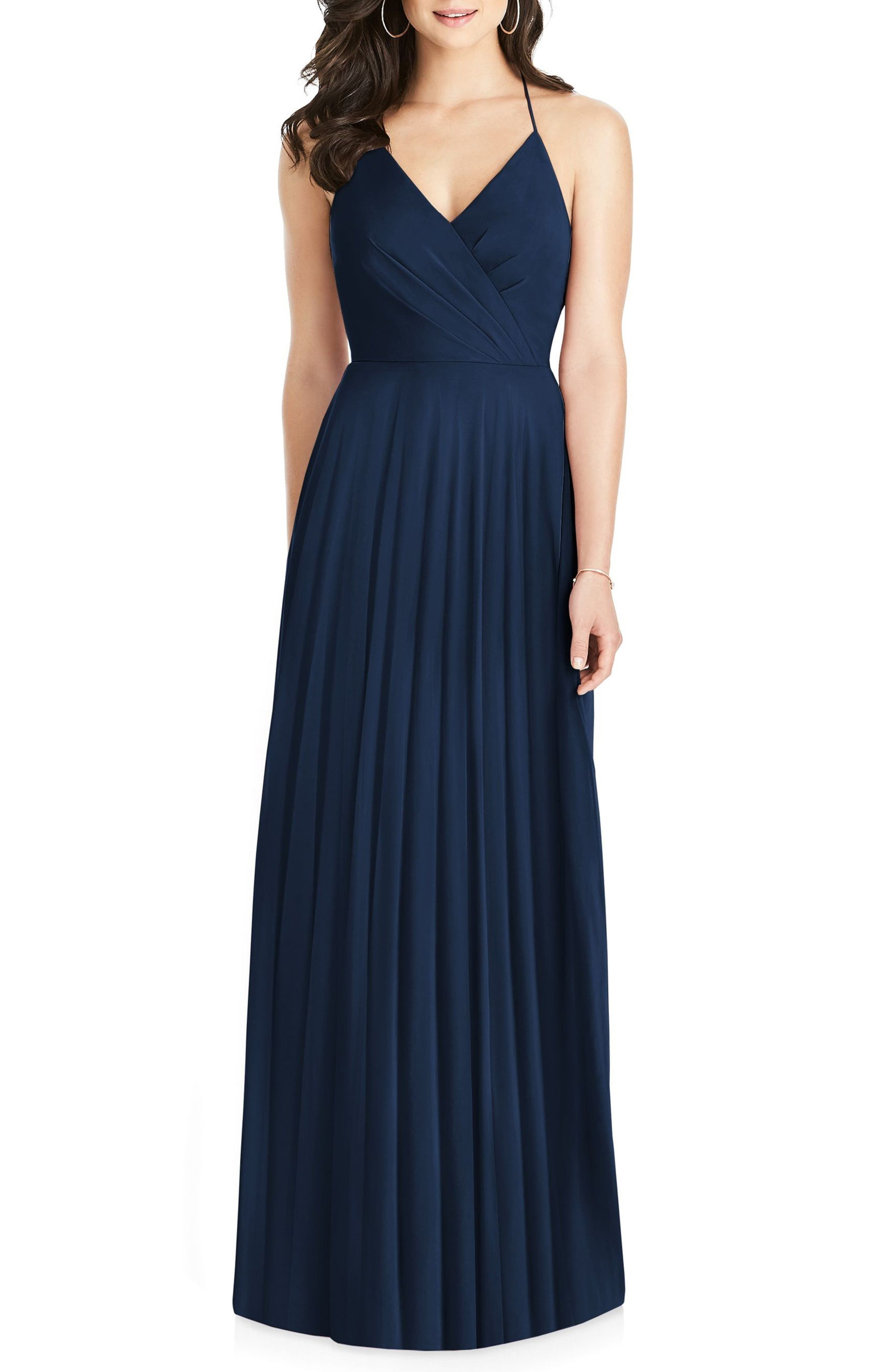 DESSY COLLECTION Ruffle Back Chiffon Gown, Main, color, MIDNIGHT