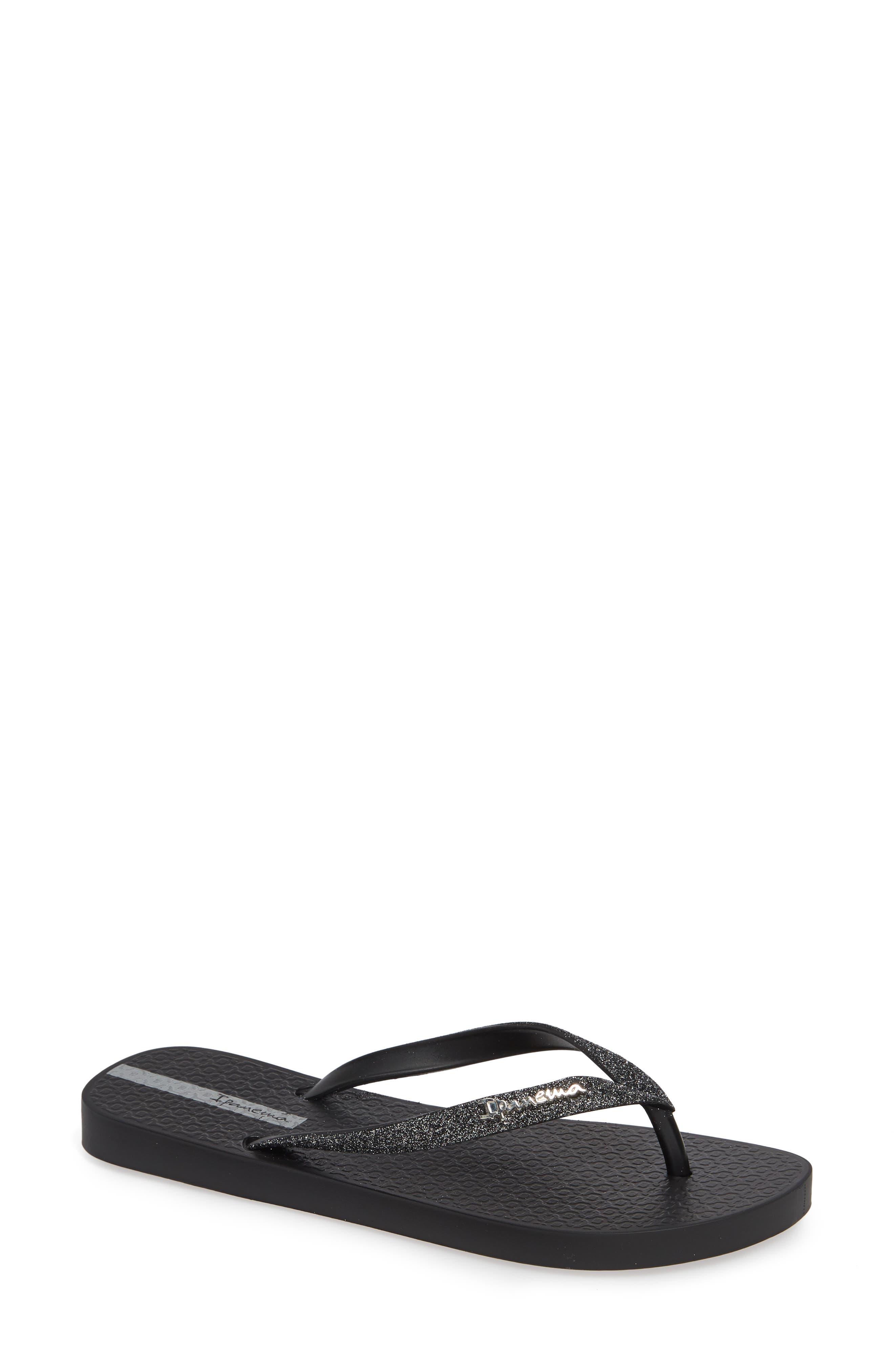 IPANEMA 'Glitter' Flip Flop, Main, color, BLACK/ BLACK