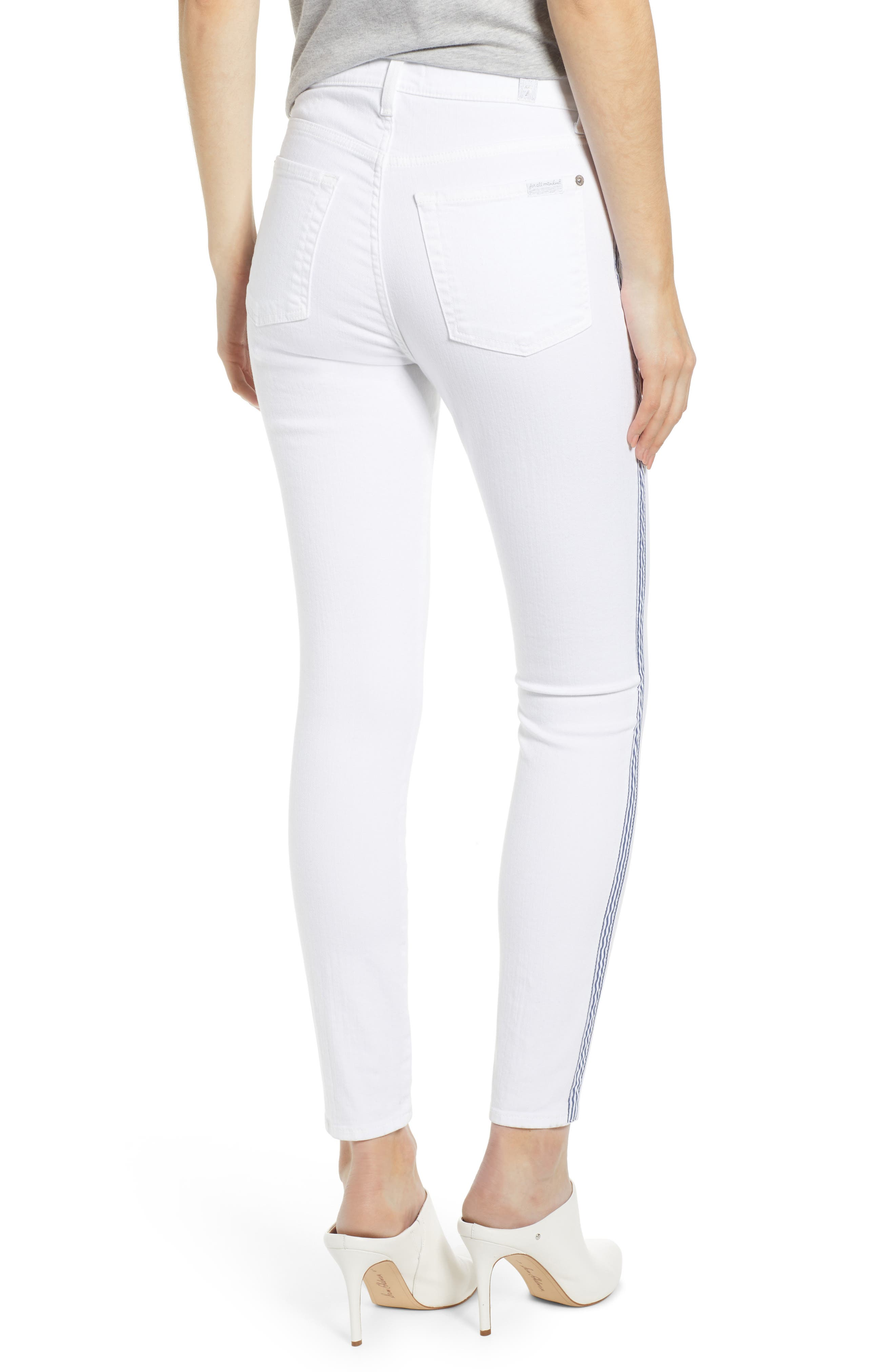 7 FOR ALL MANKIND<SUP>®</SUP>, Side Stripe High Waist Ankle Skinny Jeans, Alternate thumbnail 2, color, WHITE RUNWAY DENIM
