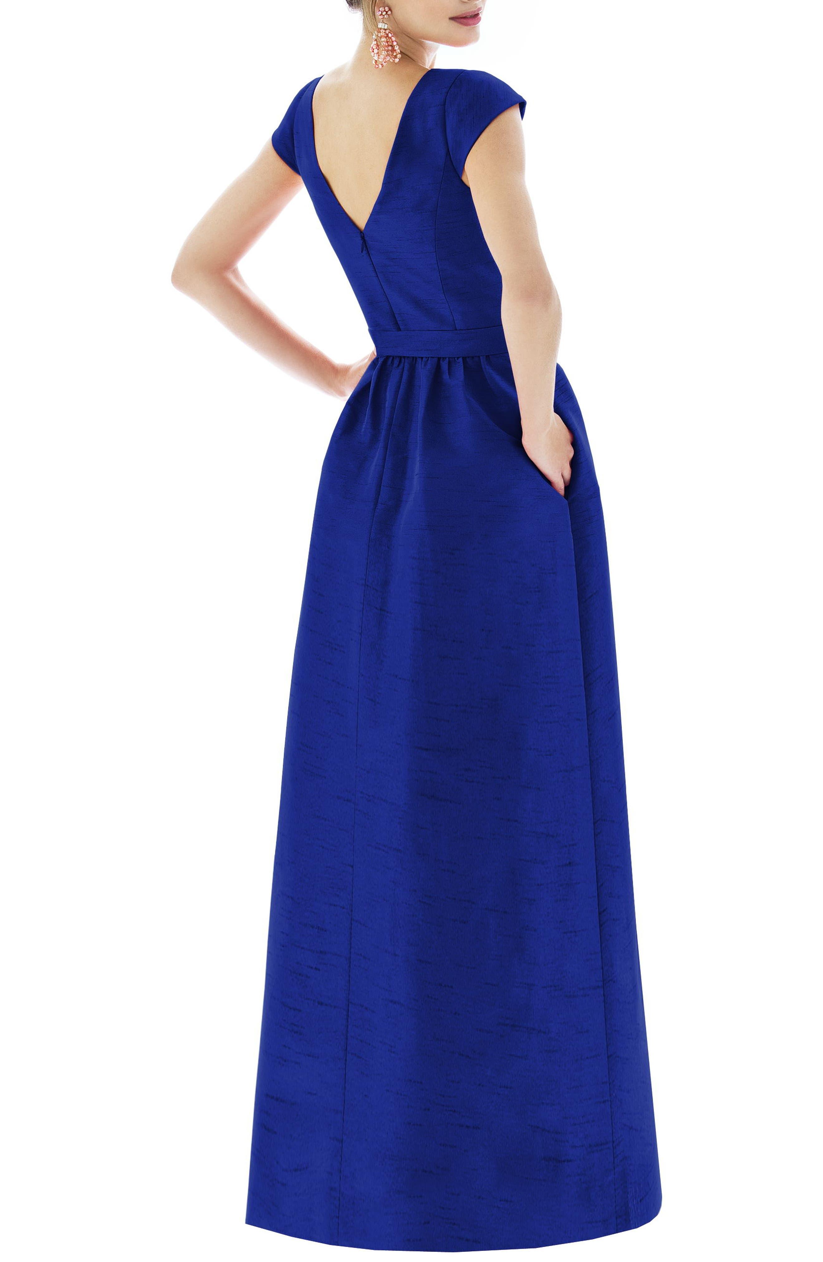 ALFRED SUNG, Cap Sleeve Dupioni Full Length Dress, Alternate thumbnail 2, color, ROYAL