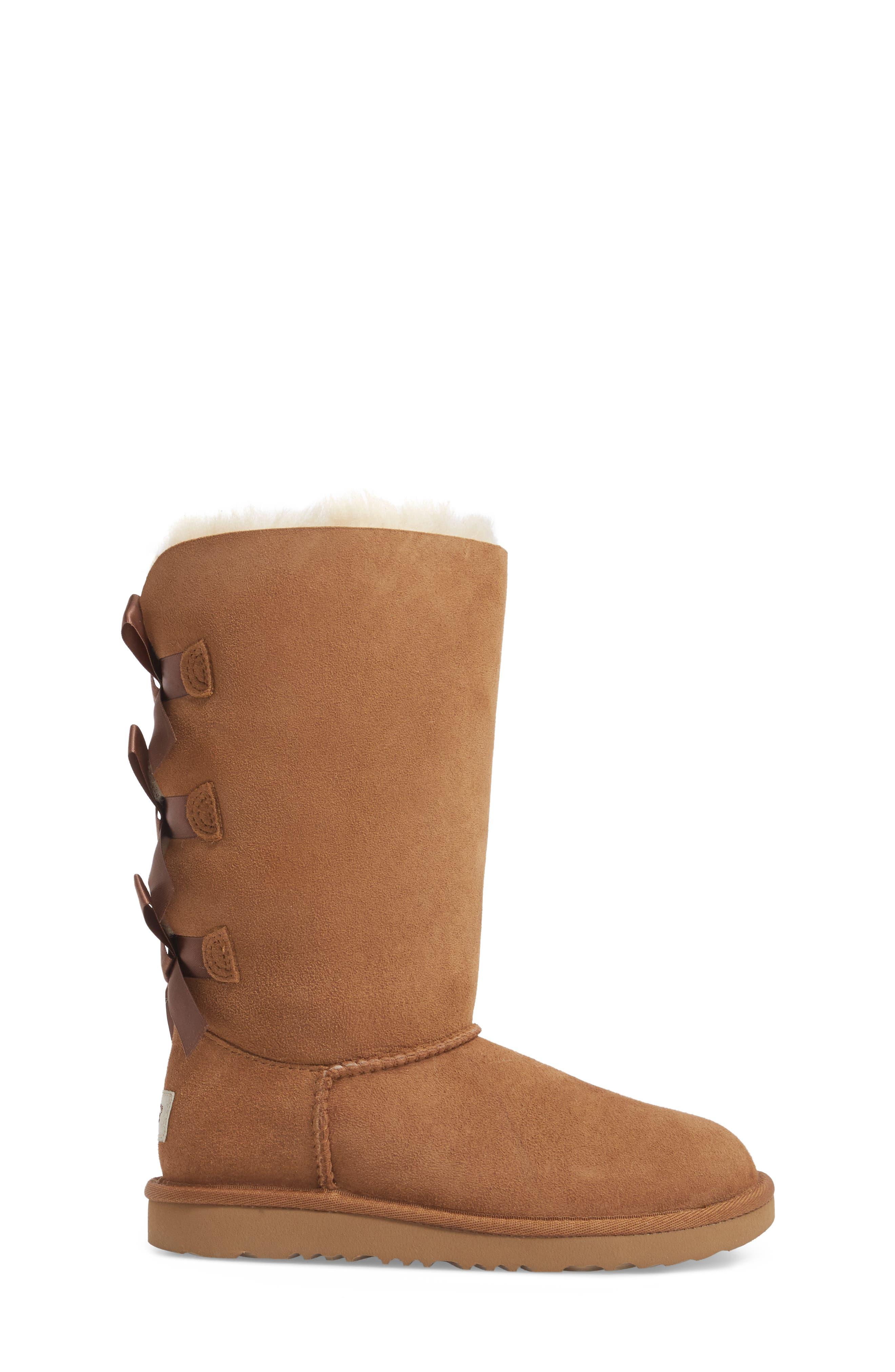 UGG<SUP>®</SUP>, Bailey Bow Tall II Water Resistant Genuine Shearling Boot, Alternate thumbnail 3, color, CHESTNUT BROWN