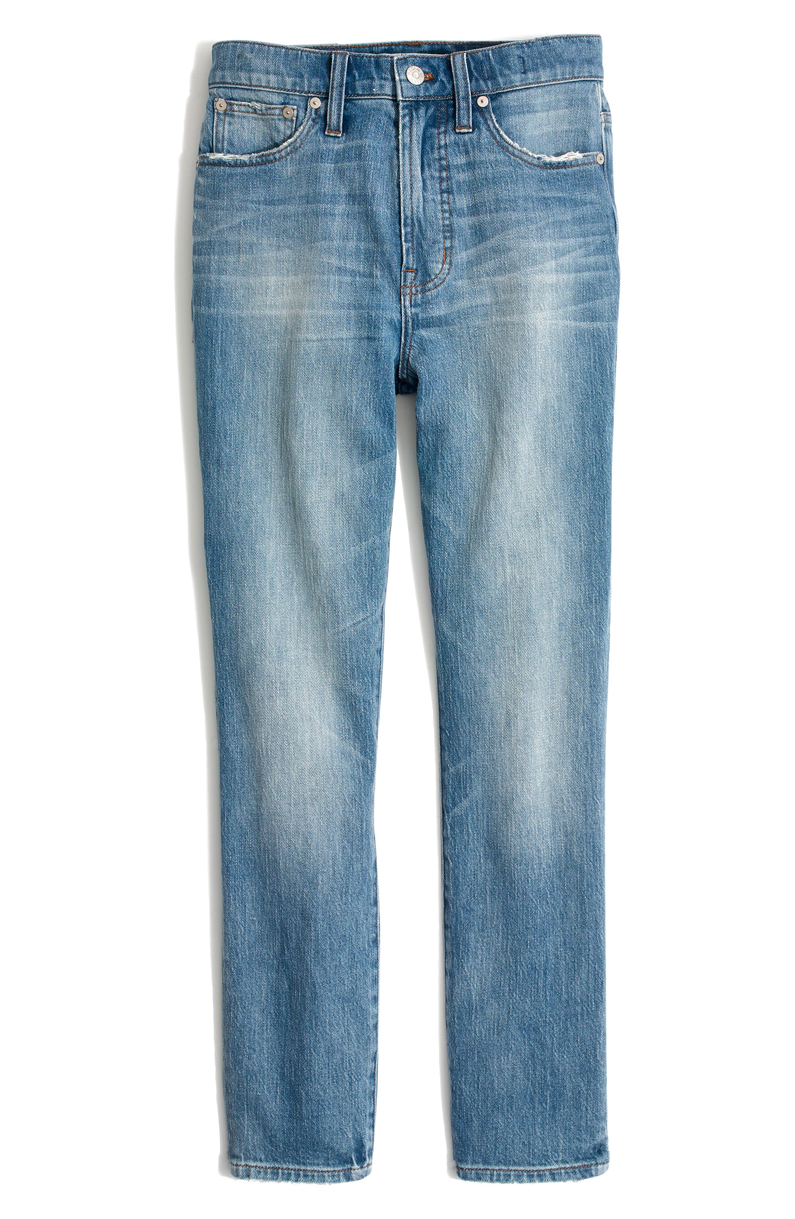 MADEWELL, The Perfect Vintage Heart Patch High Waist Jeans, Alternate thumbnail 6, color, ATWATER WASH