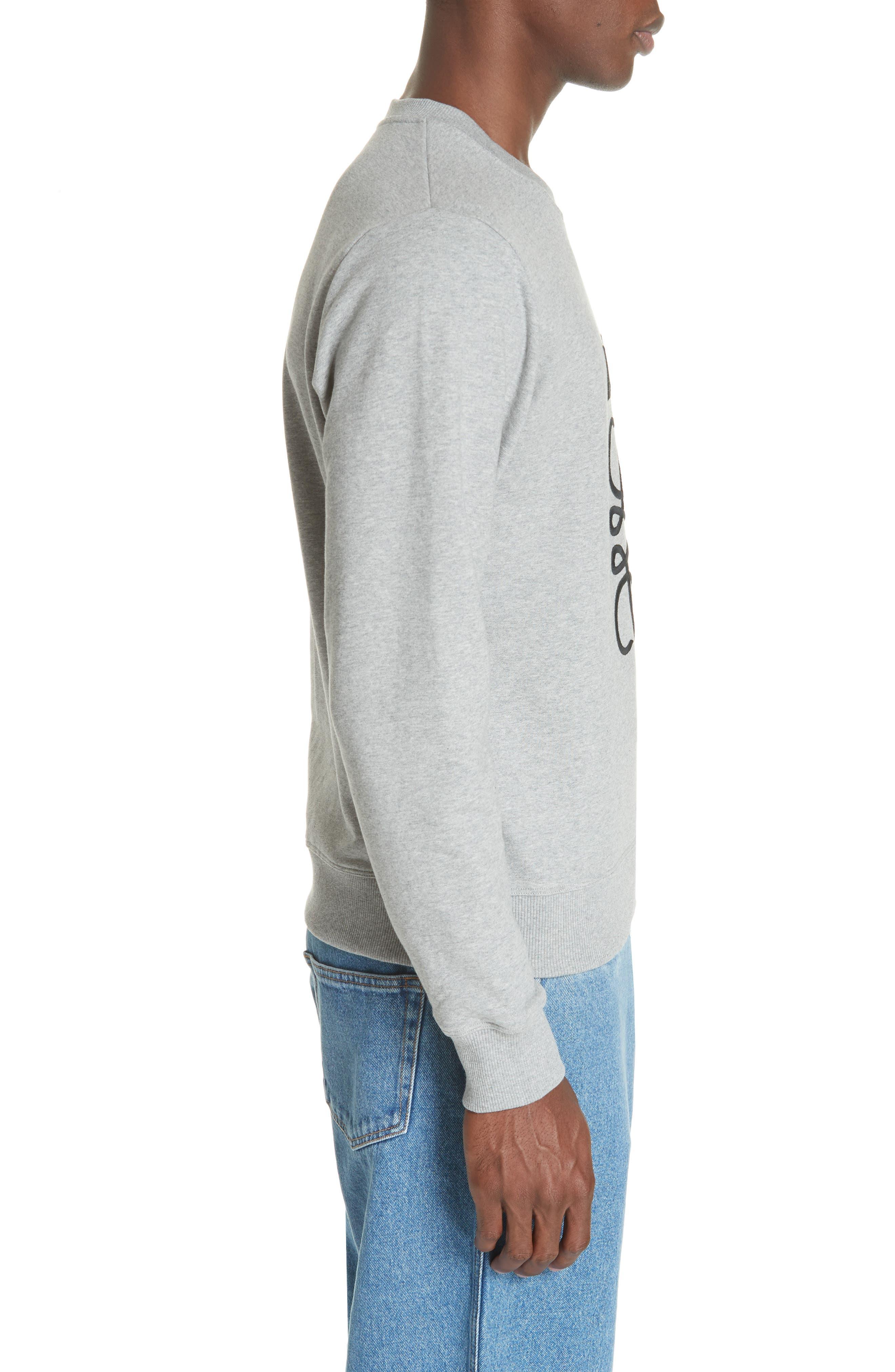 LOEWE, Embroidered Anagram Logo Sweatshirt, Alternate thumbnail 3, color, 1120 GREY