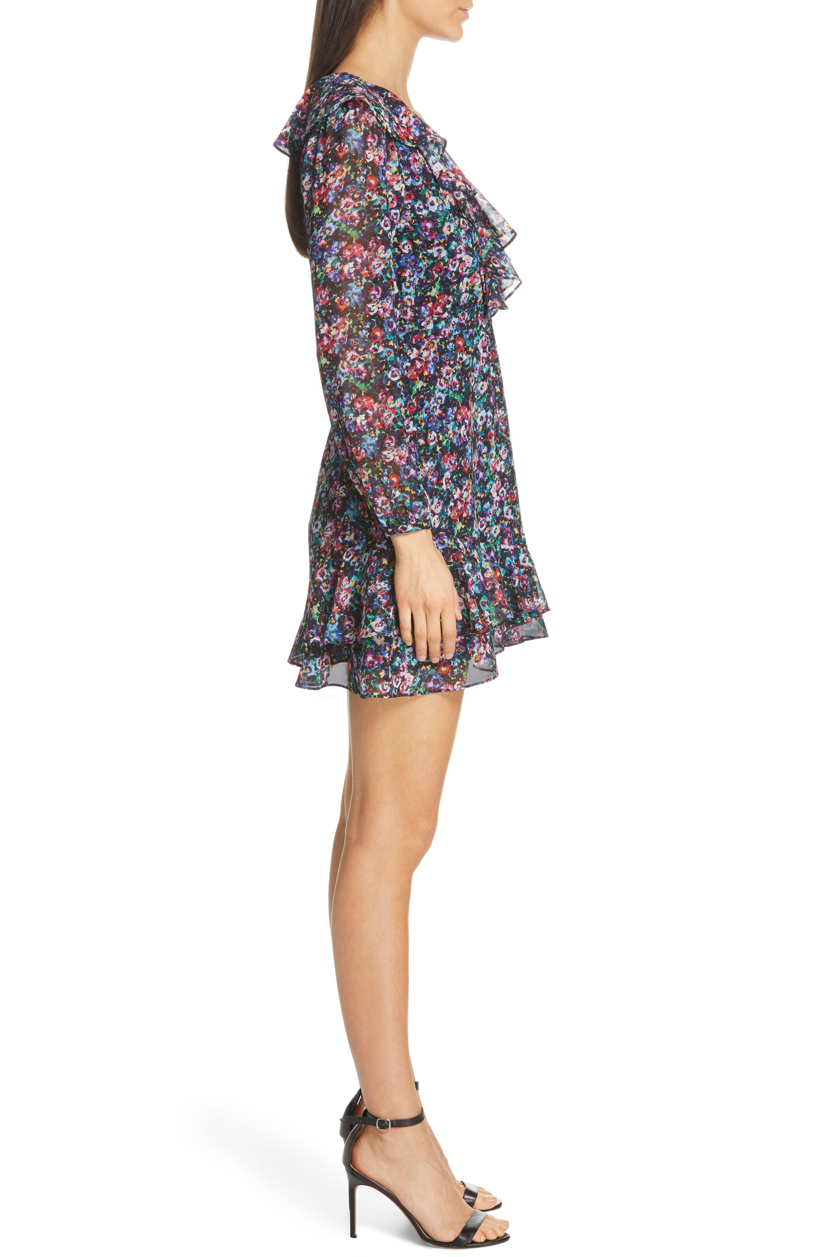 SALONI, Jodie Floral Print Silk Minidress, Alternate thumbnail 4, color, JEWEL ROSETTE