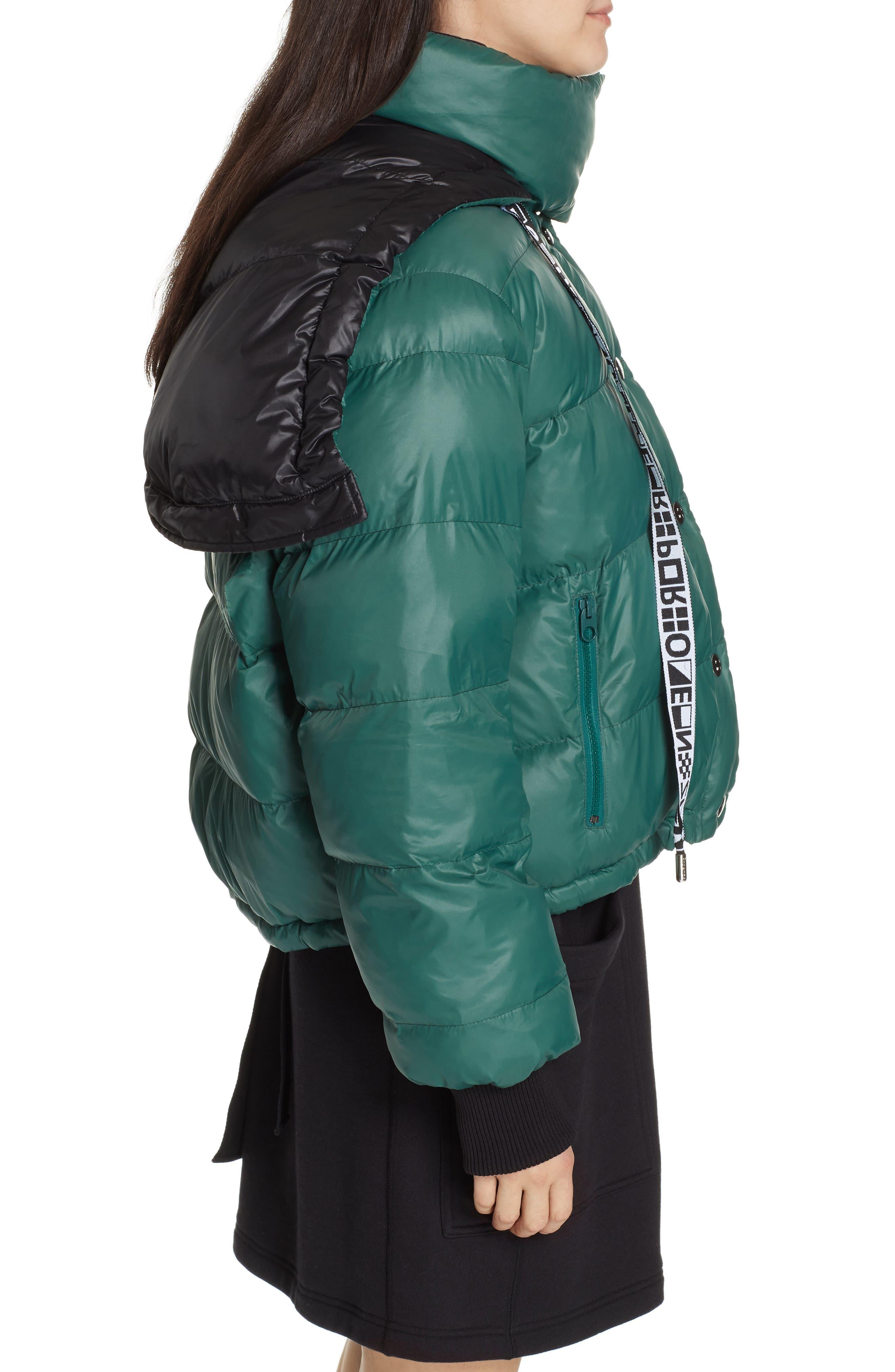 PROENZA SCHOULER, PSWL Reversible Puffer Coat, Alternate thumbnail 5, color, GREEN/ BLACK