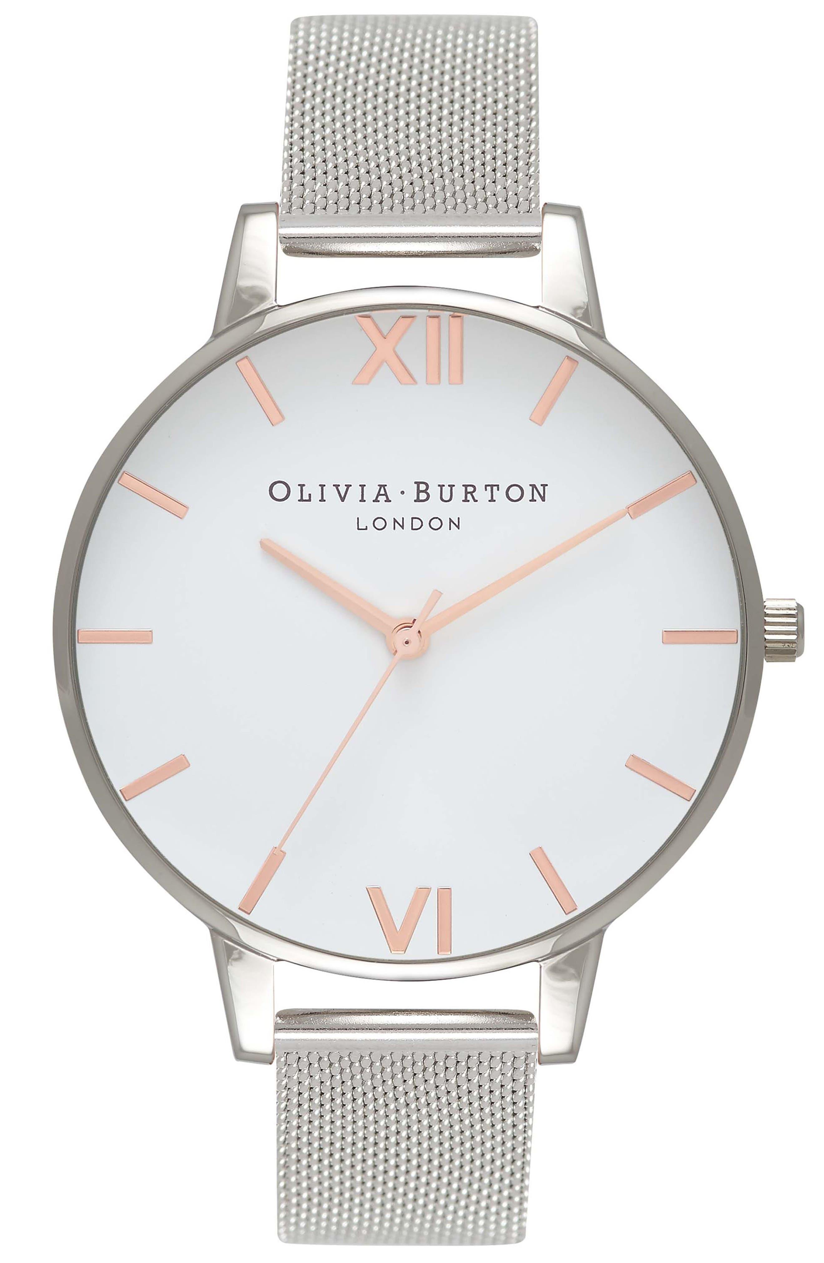 OLIVIA BURTON, Mesh Strap Watch, 38mm, Main thumbnail 1, color, SILVER/ WHITE/ ROSE GOLD