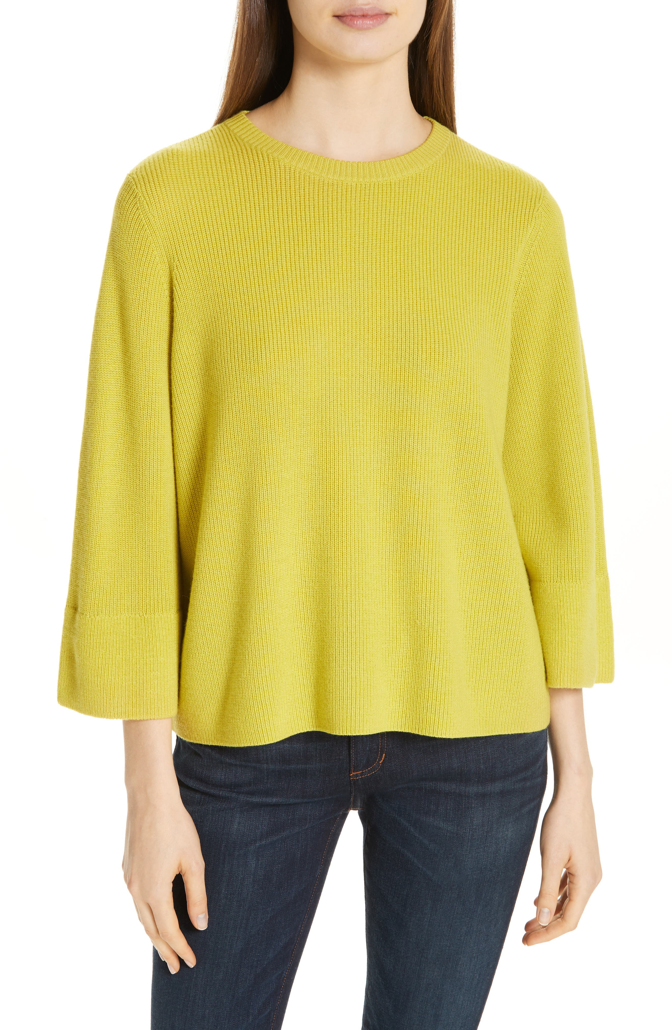 EILEEN FISHER, Three Quarter Sleeve Sweater, Main thumbnail 1, color, VERBENA