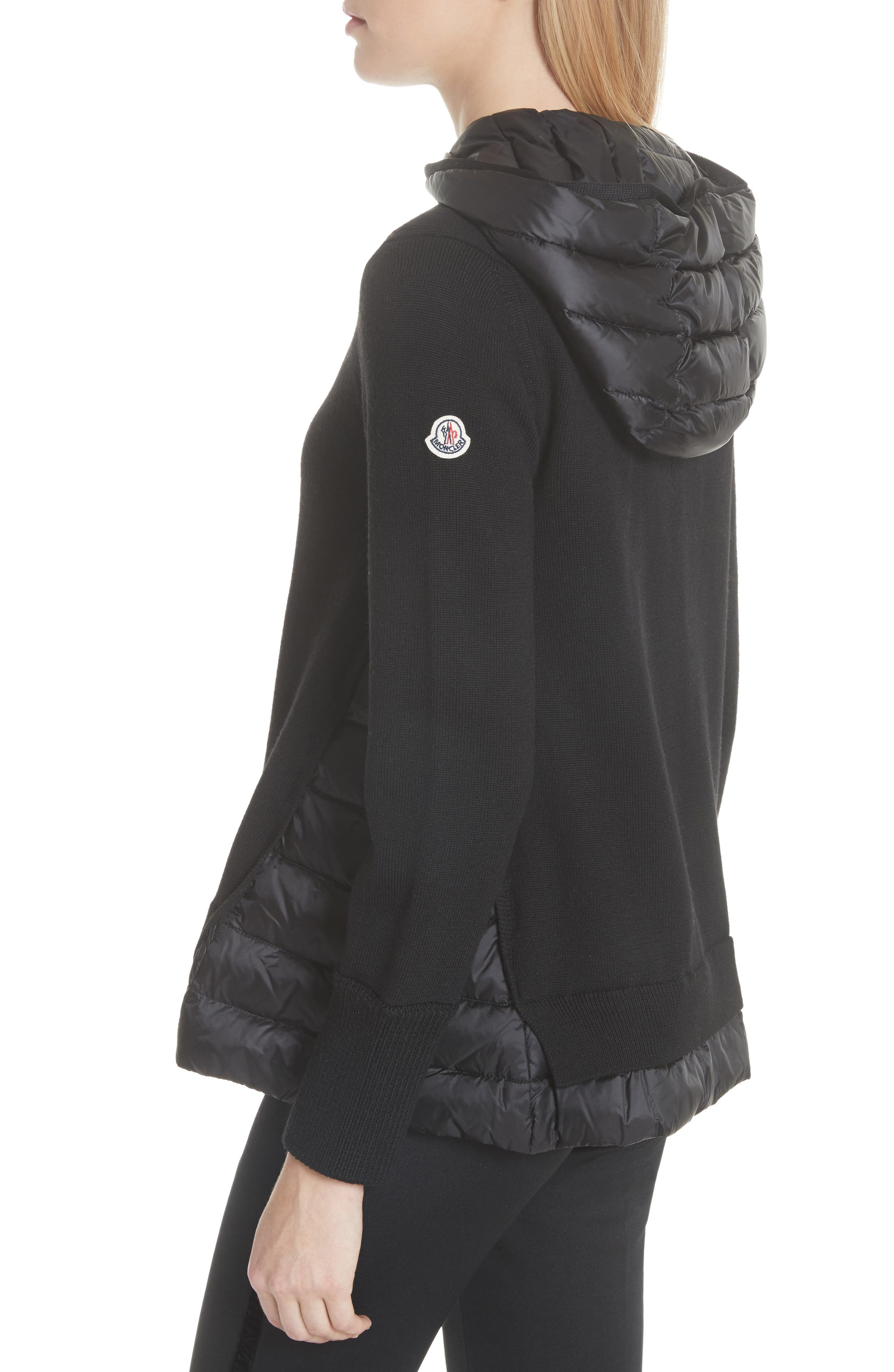 MONCLER, Hooded Quilted Cardigan, Alternate thumbnail 4, color, BLACK