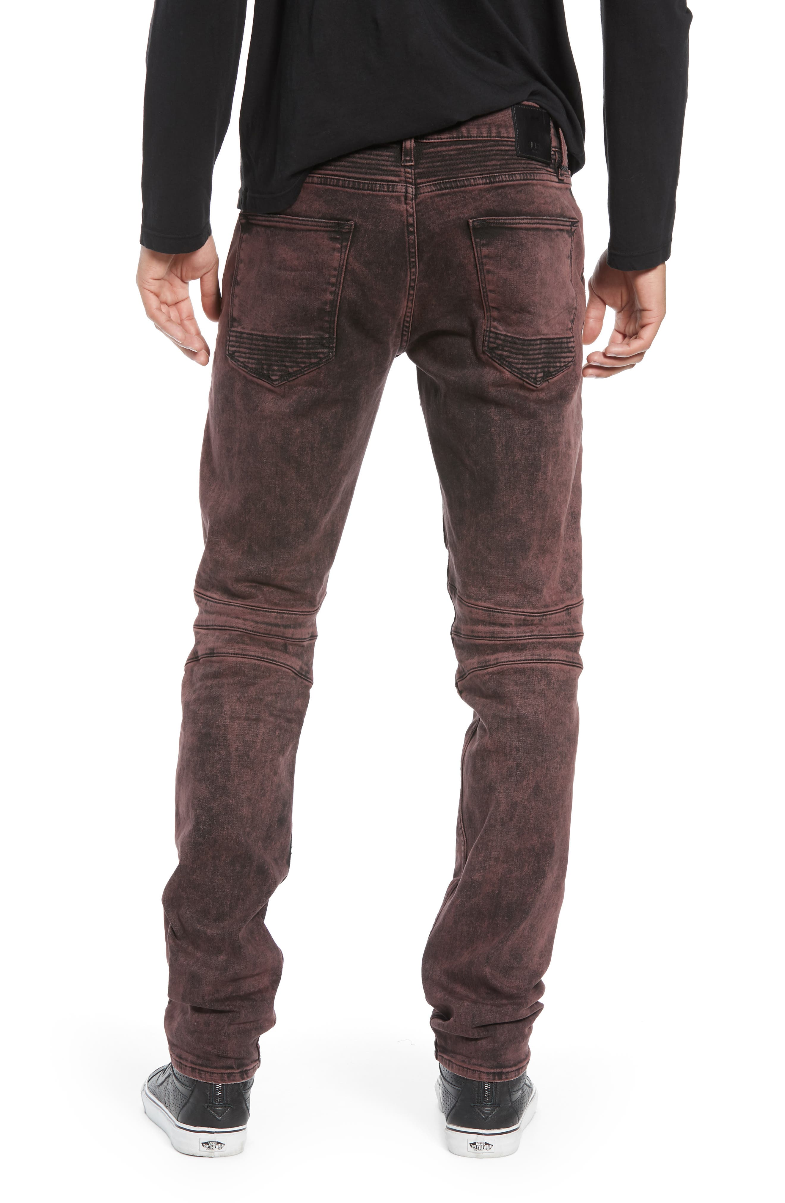 HUDSON JEANS, Blinder Biker Skinny Fit Jeans, Alternate thumbnail 2, color, FADED OX BLOOD