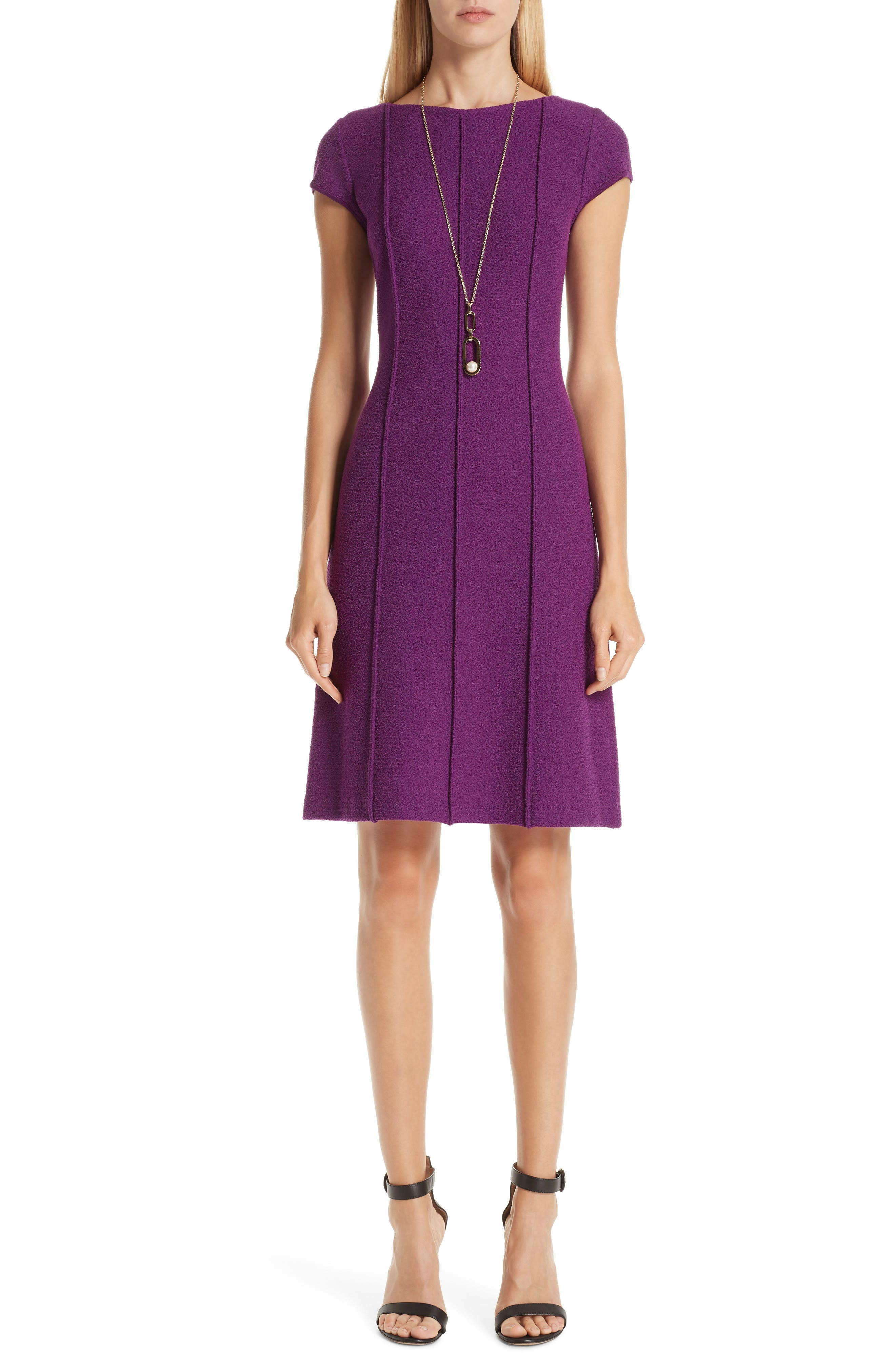ST. JOHN COLLECTION, Ana Bouclé Knit Dress, Alternate thumbnail 7, color, IRIS