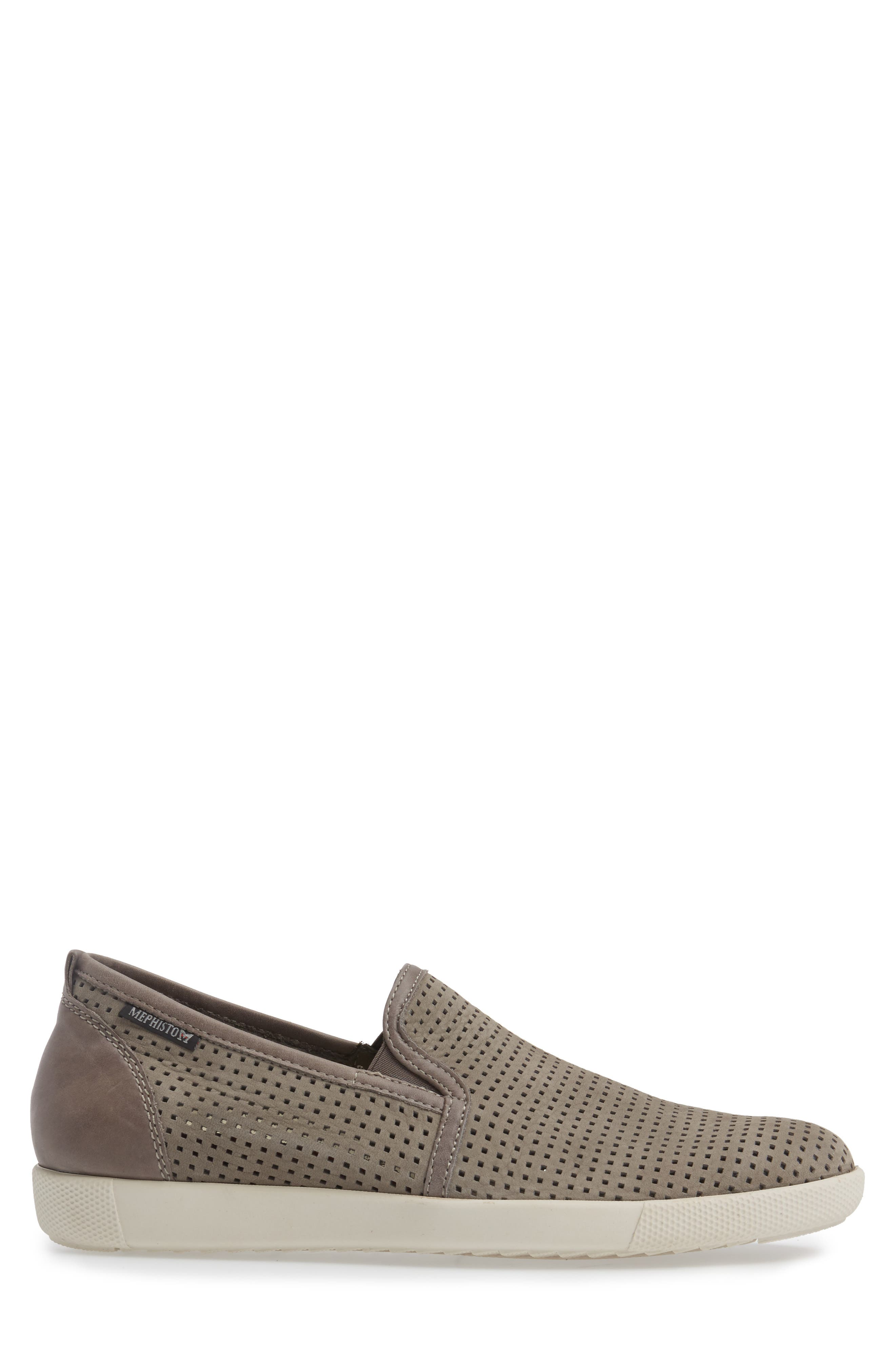 MEPHISTO, 'Ulrich' Perforated Leather Slip-On, Alternate thumbnail 3, color, LIGHT GREY SPORTBUCK