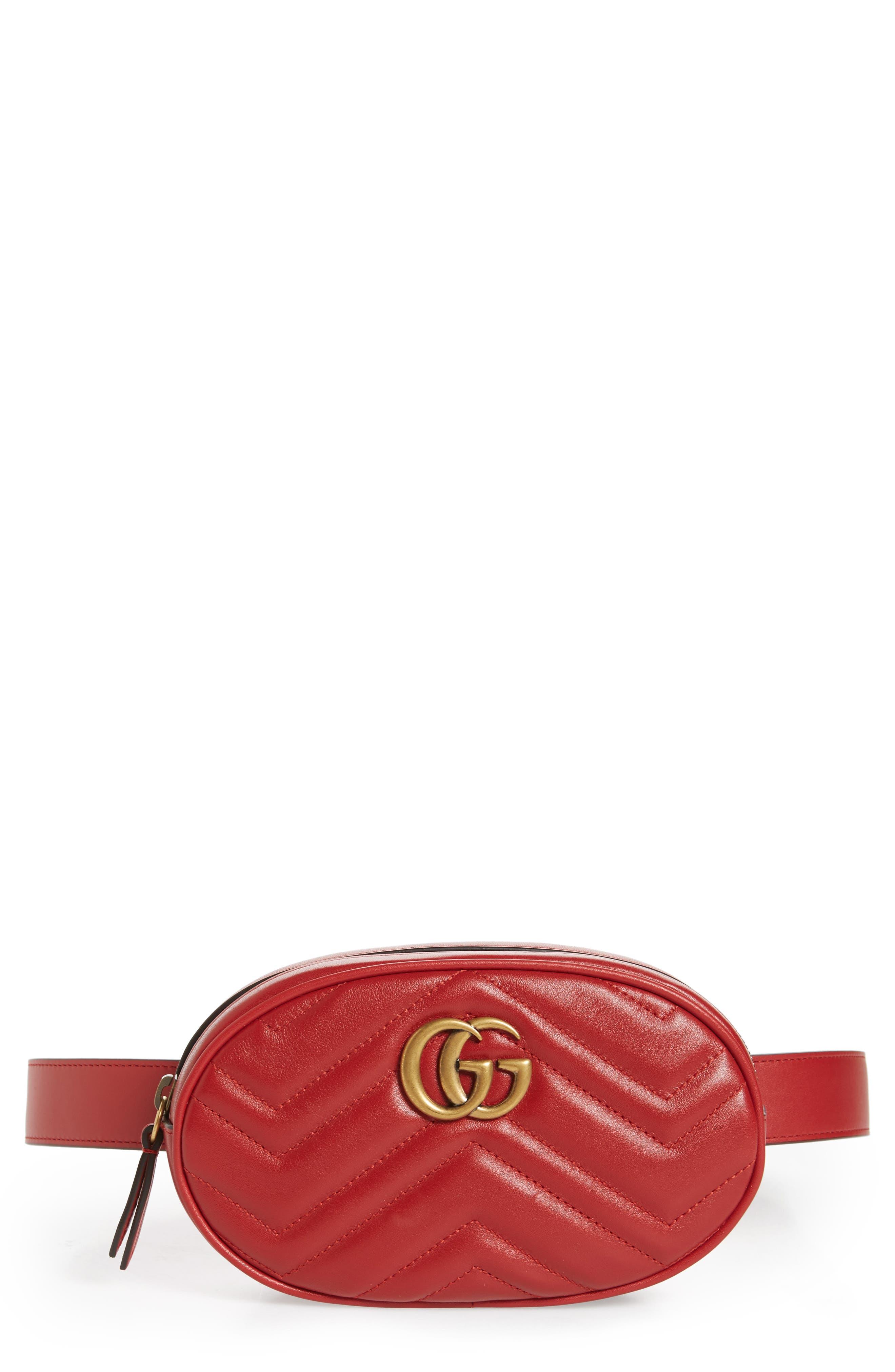 056c49b620d Gucci marmont matelassé leather belt bag main color hibiscus red jpg  780x838 Red gucci belt bag