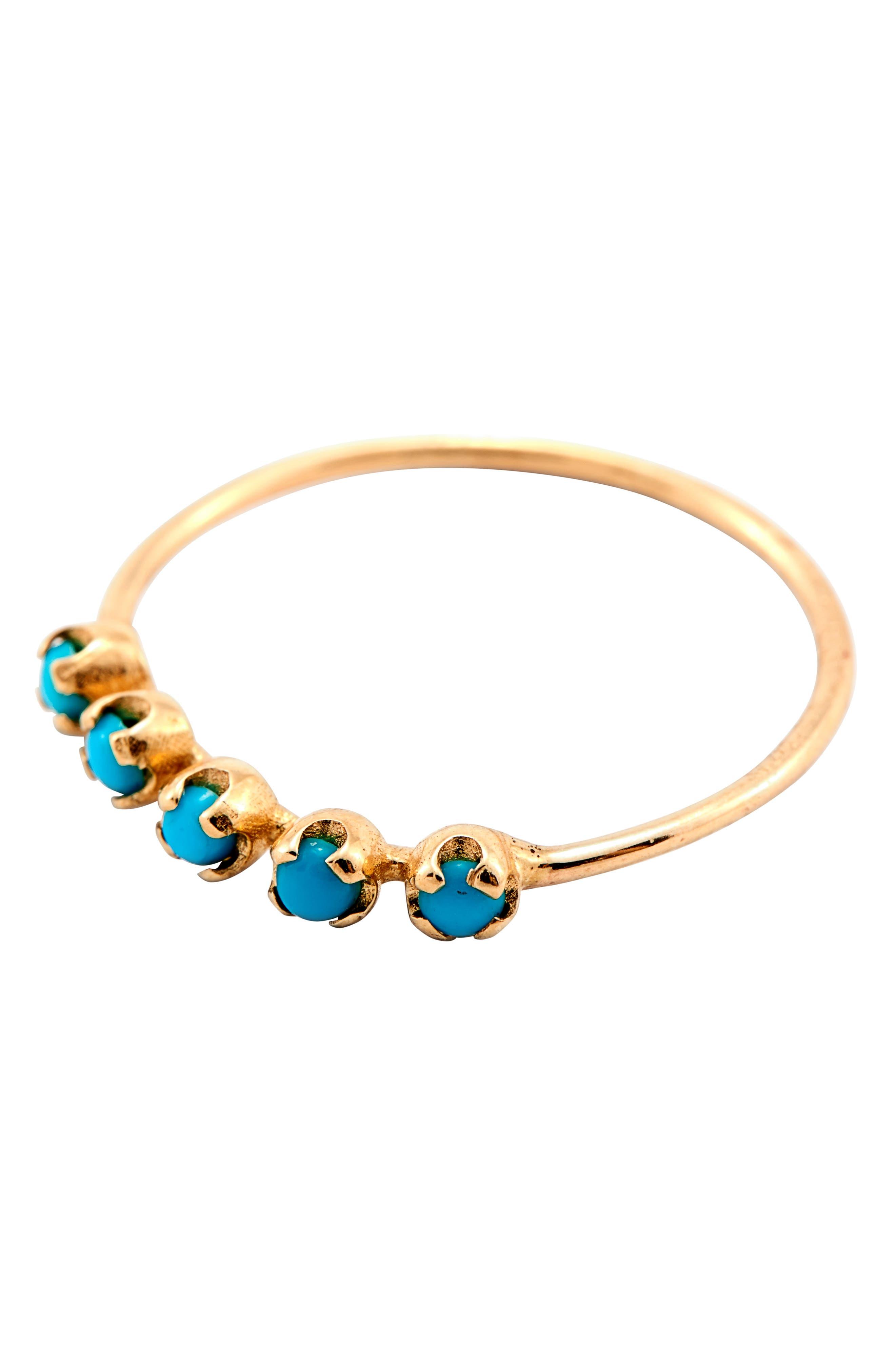 LOREN STEWART, Turquoise Cinq Ring, Alternate thumbnail 3, color, GOLD/ TURQUOISE