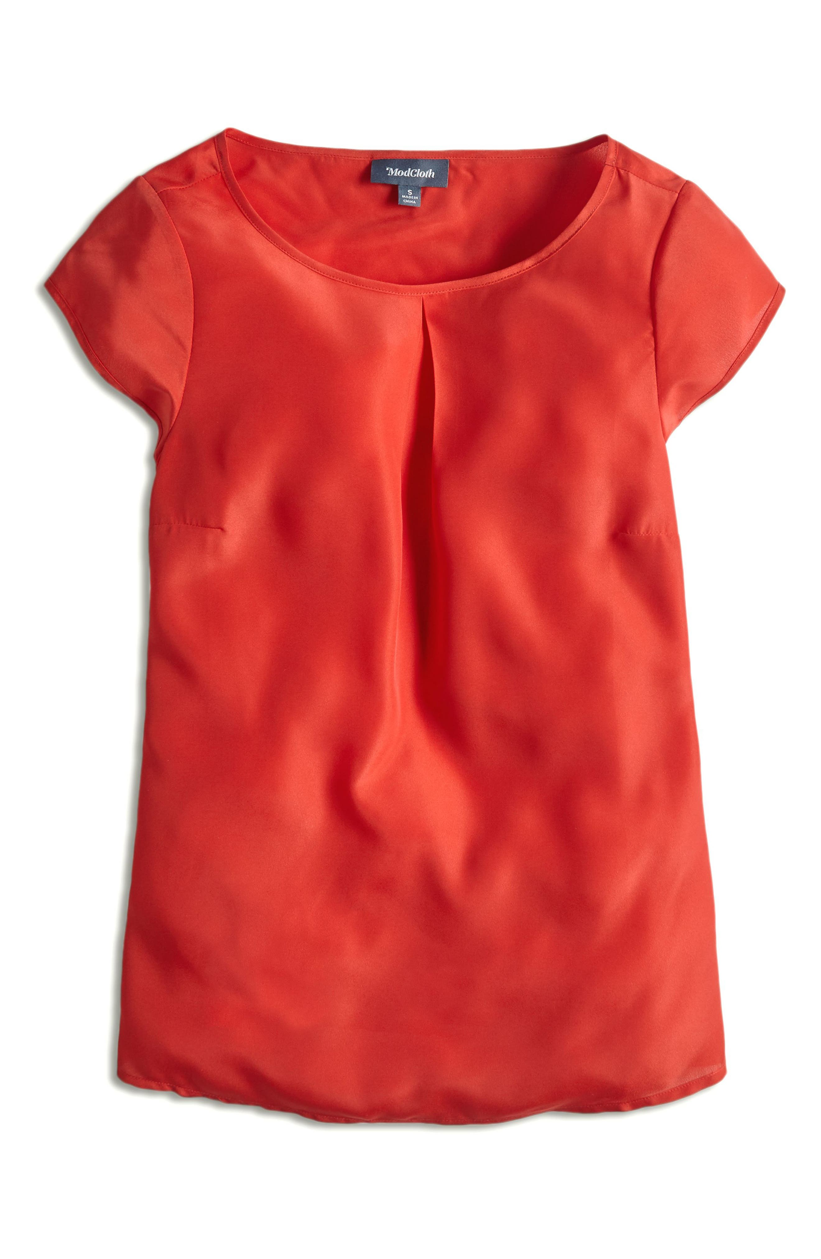 MODCLOTH, Graceful Expectations Top, Alternate thumbnail 5, color, RED SOLID