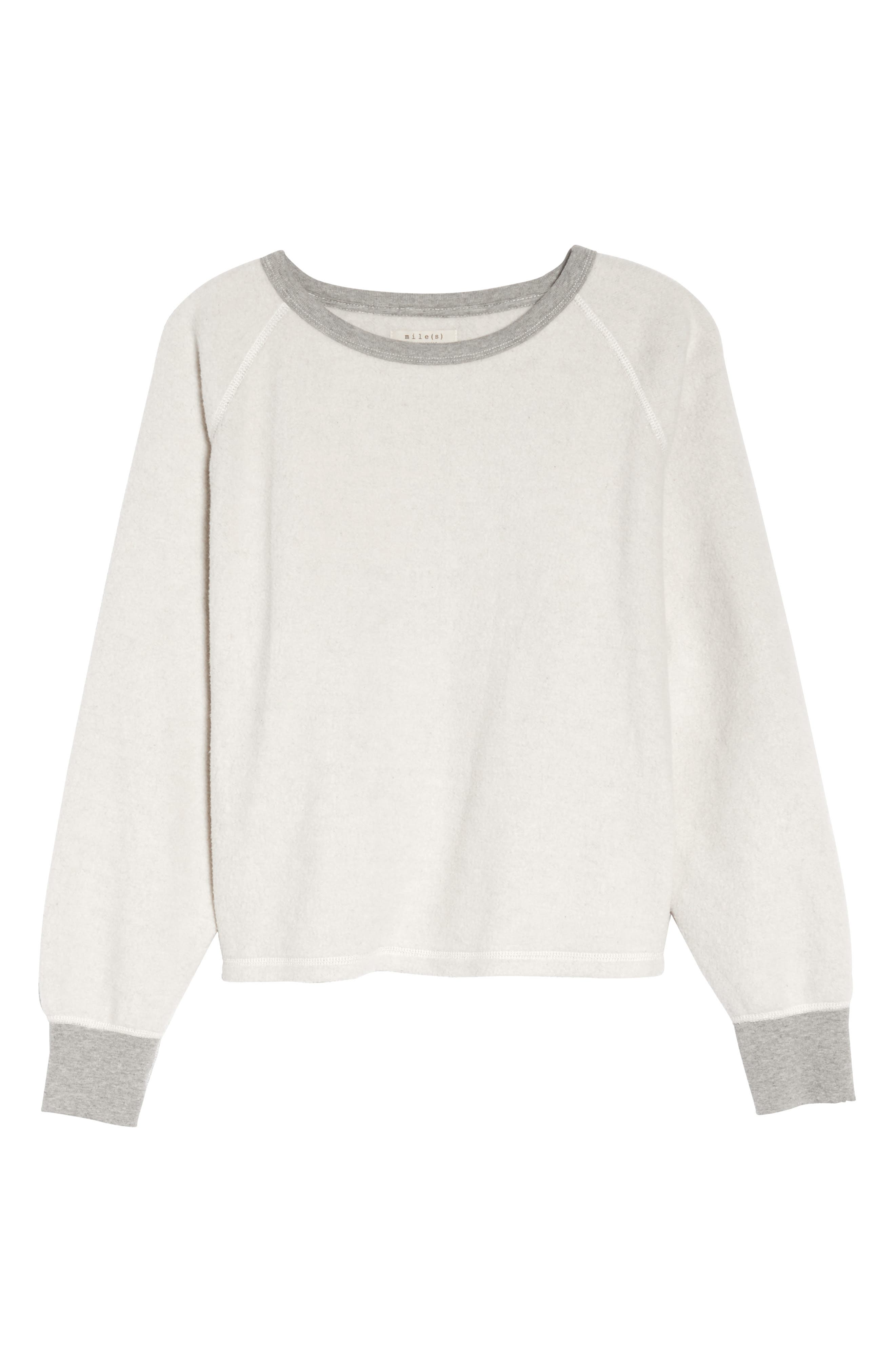 MADEWELL, Fleece Pajama Sweatshirt, Alternate thumbnail 6, color, 020