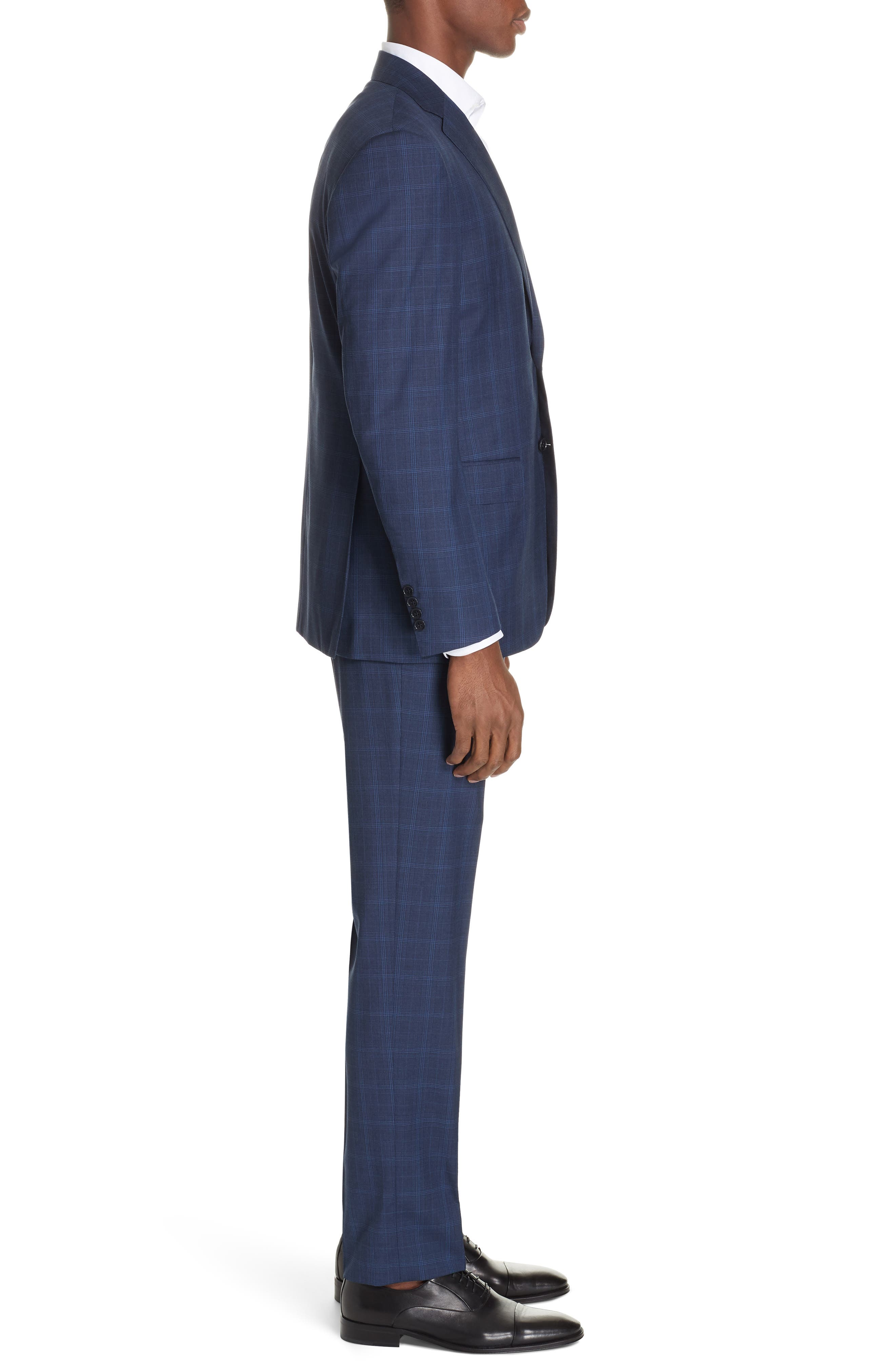 CANALI, Sienna Classic Fit Plaid Wool Suit, Alternate thumbnail 3, color, NAVY
