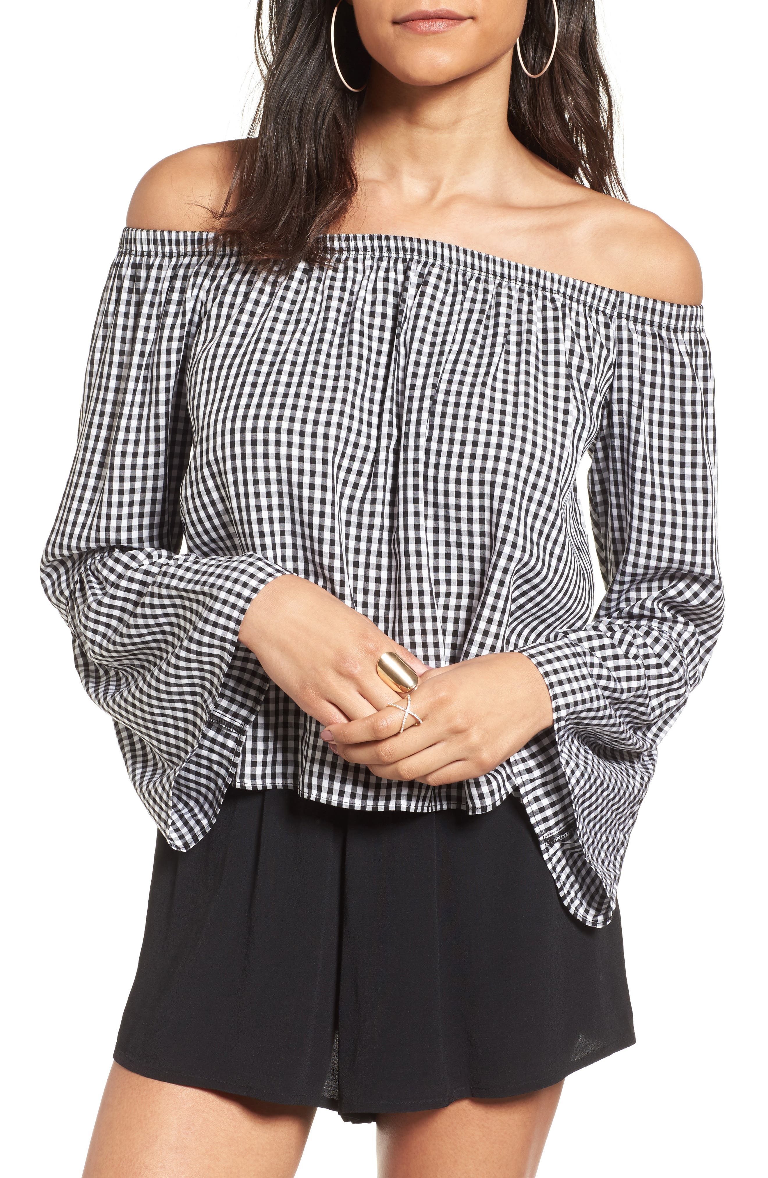 LOVE, FIRE Print Off the Shoulder Top, Main, color, 001