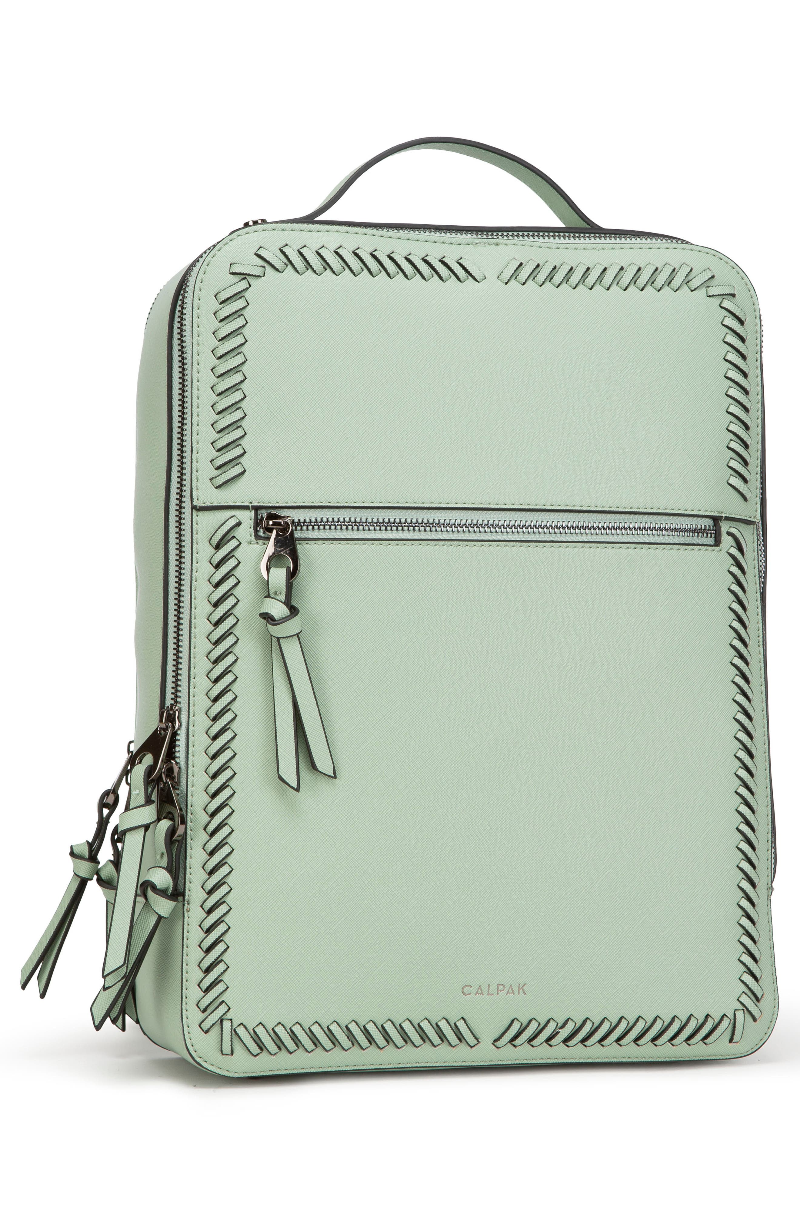 CALPAK, Kaya Faux Leather Laptop Backpack, Alternate thumbnail 4, color, MINT