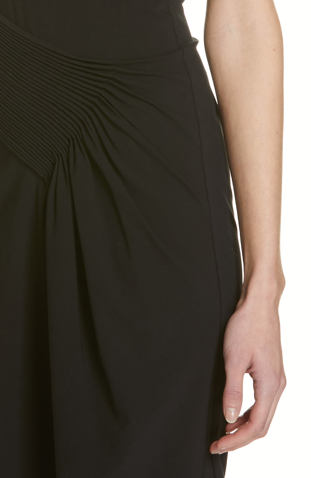 HELMUT LANG, Pleated Jersey Dress, Alternate thumbnail 5, color, BLACK