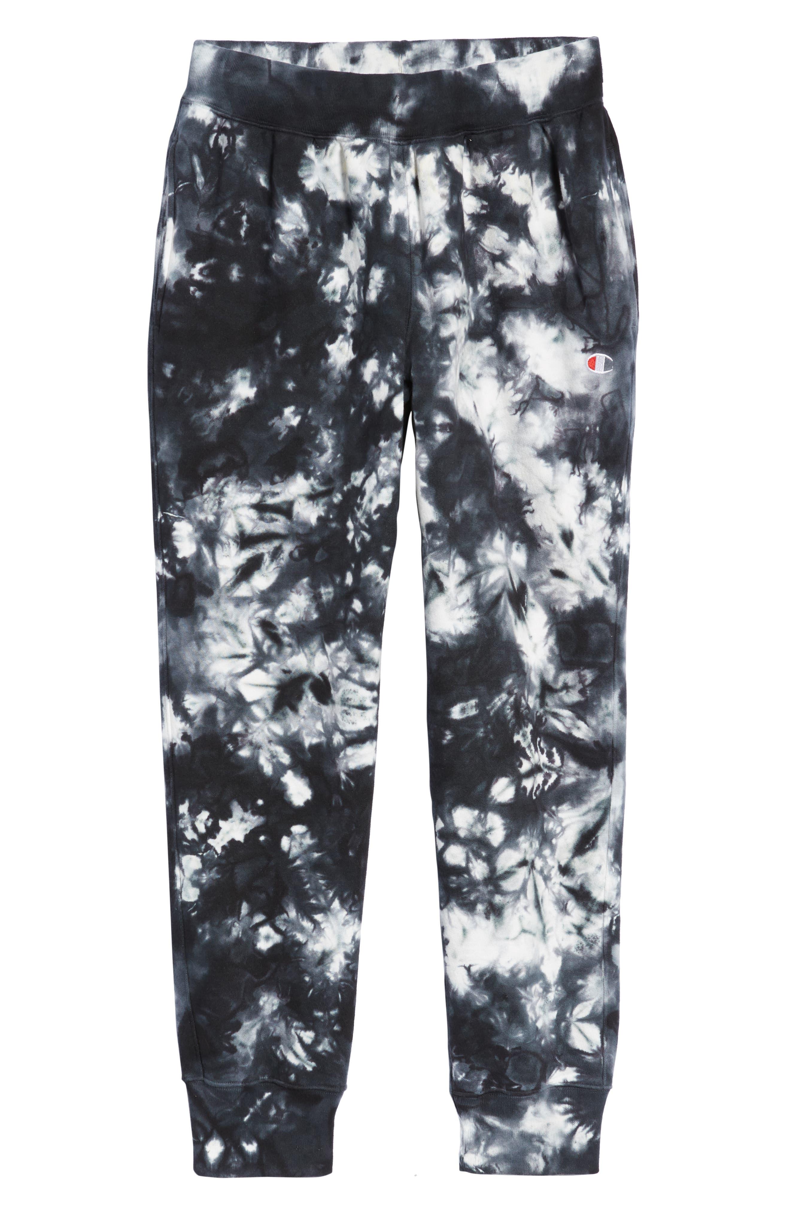 CHAMPION, Scrunch Dye Reverse Sweatpants, Alternate thumbnail 7, color, BLACK