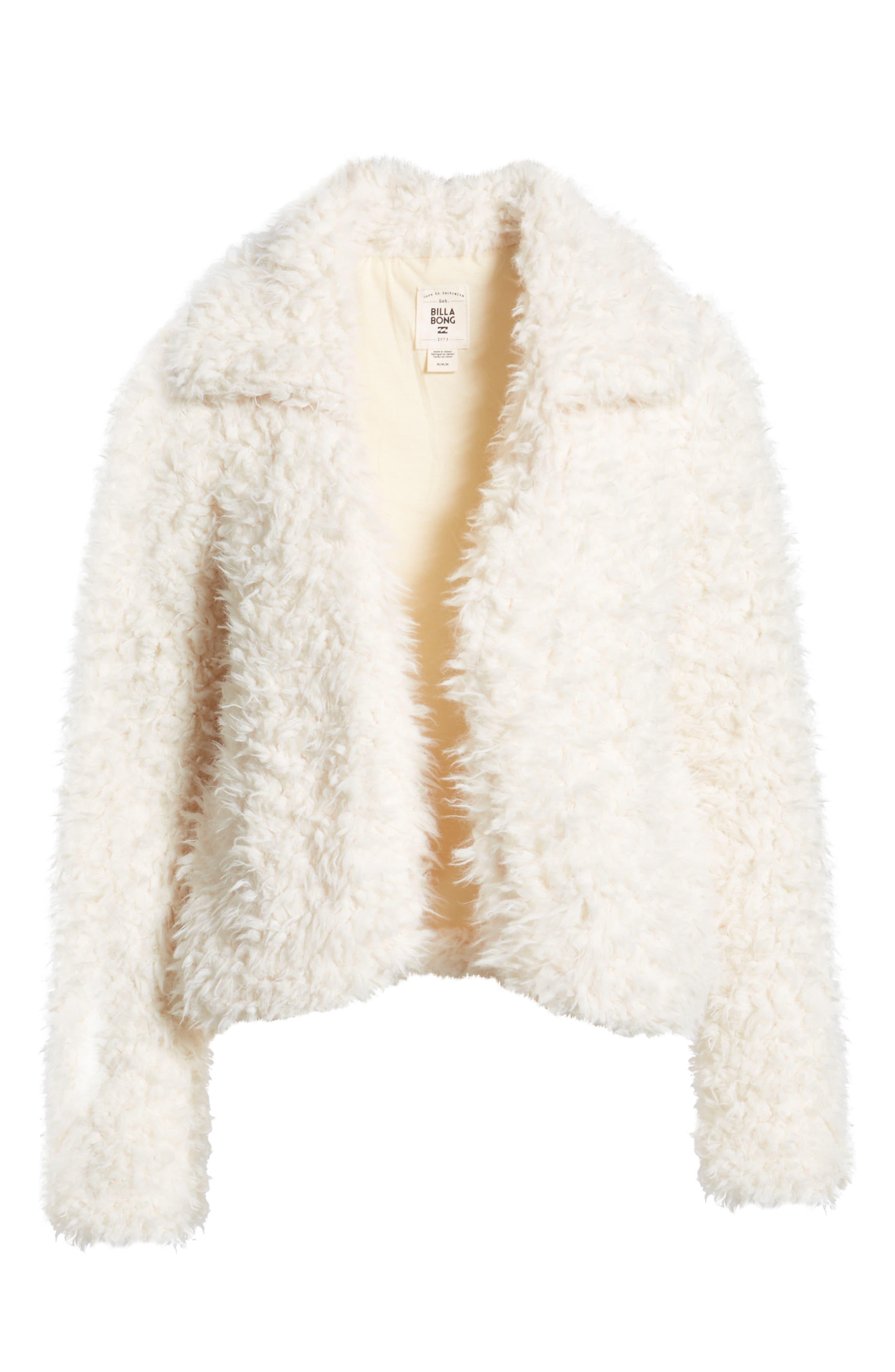 BILLABONG, Fur Keeps Faux Fur Crop Jacket, Alternate thumbnail 3, color, 190