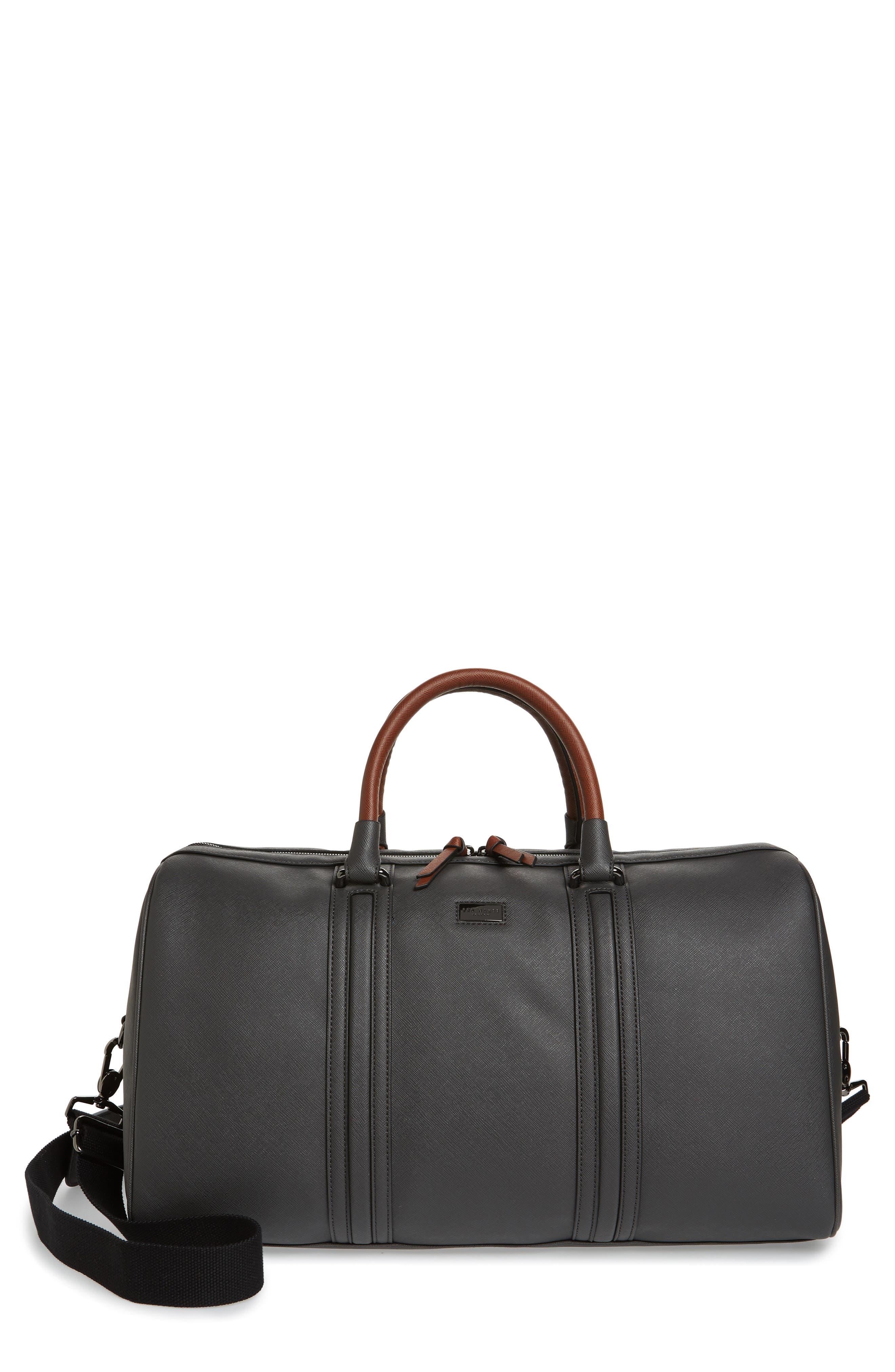 TED BAKER LONDON, Grankan Faux Leather Duffel Bag, Main thumbnail 1, color, 020
