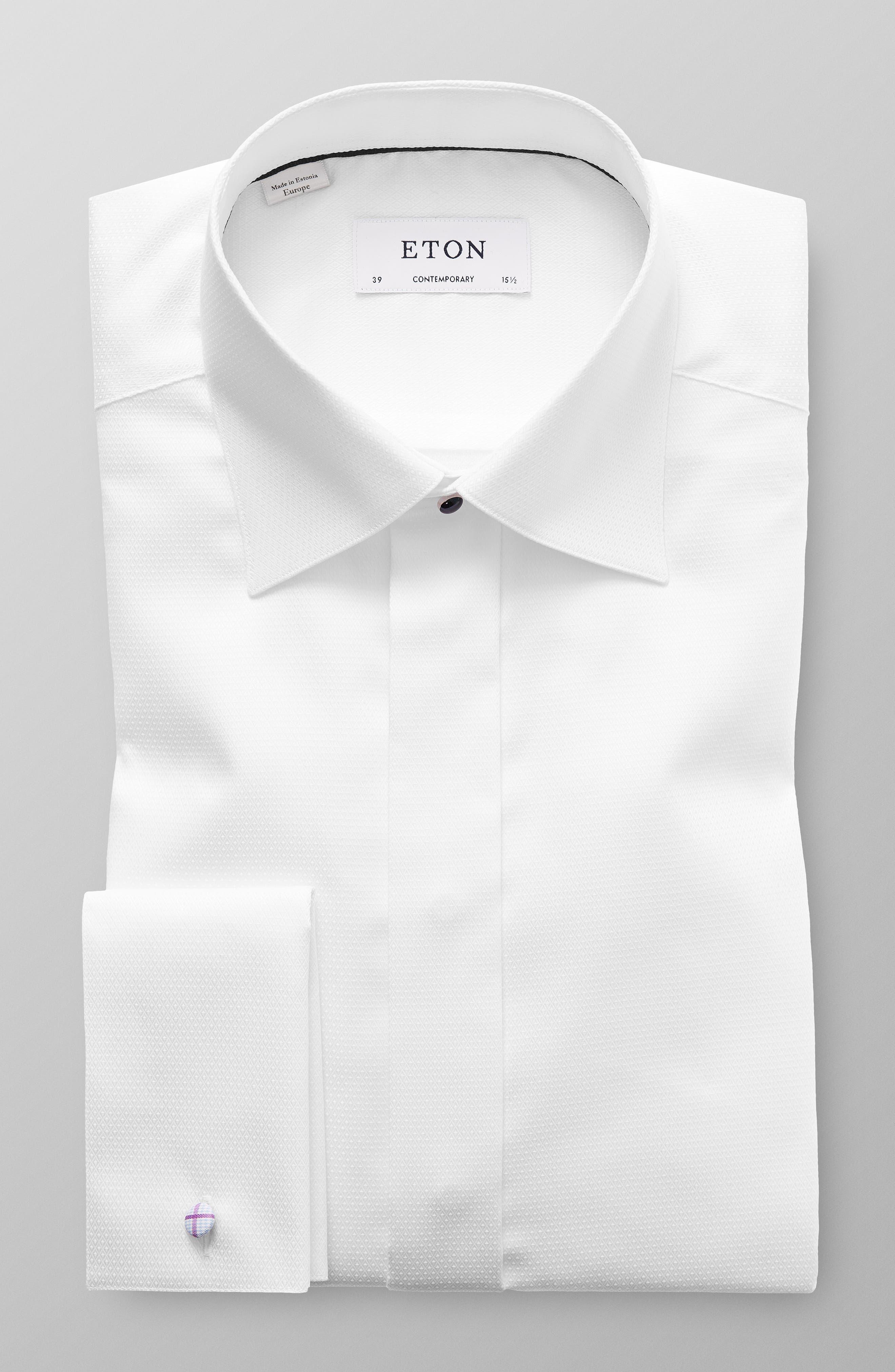 ETON, Contemporary Fit Diamond Weave Tuxedo Shirt, Alternate thumbnail 5, color, WHITE