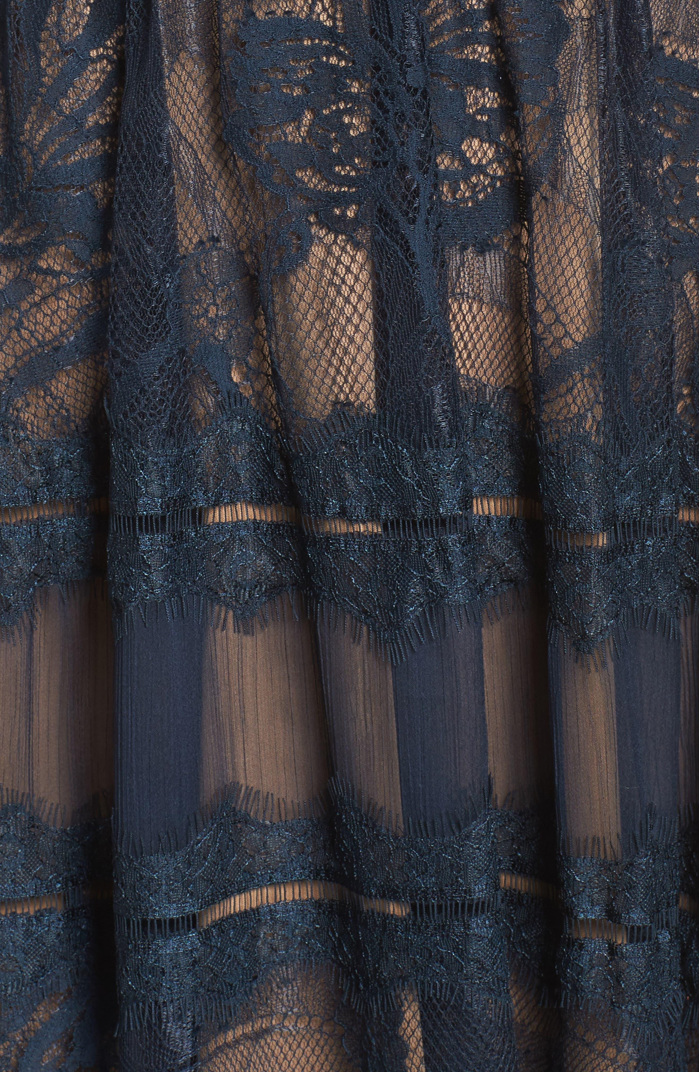 TADASHI SHOJI, Lace Midi Dress, Alternate thumbnail 6, color, NAVY/ NUDE