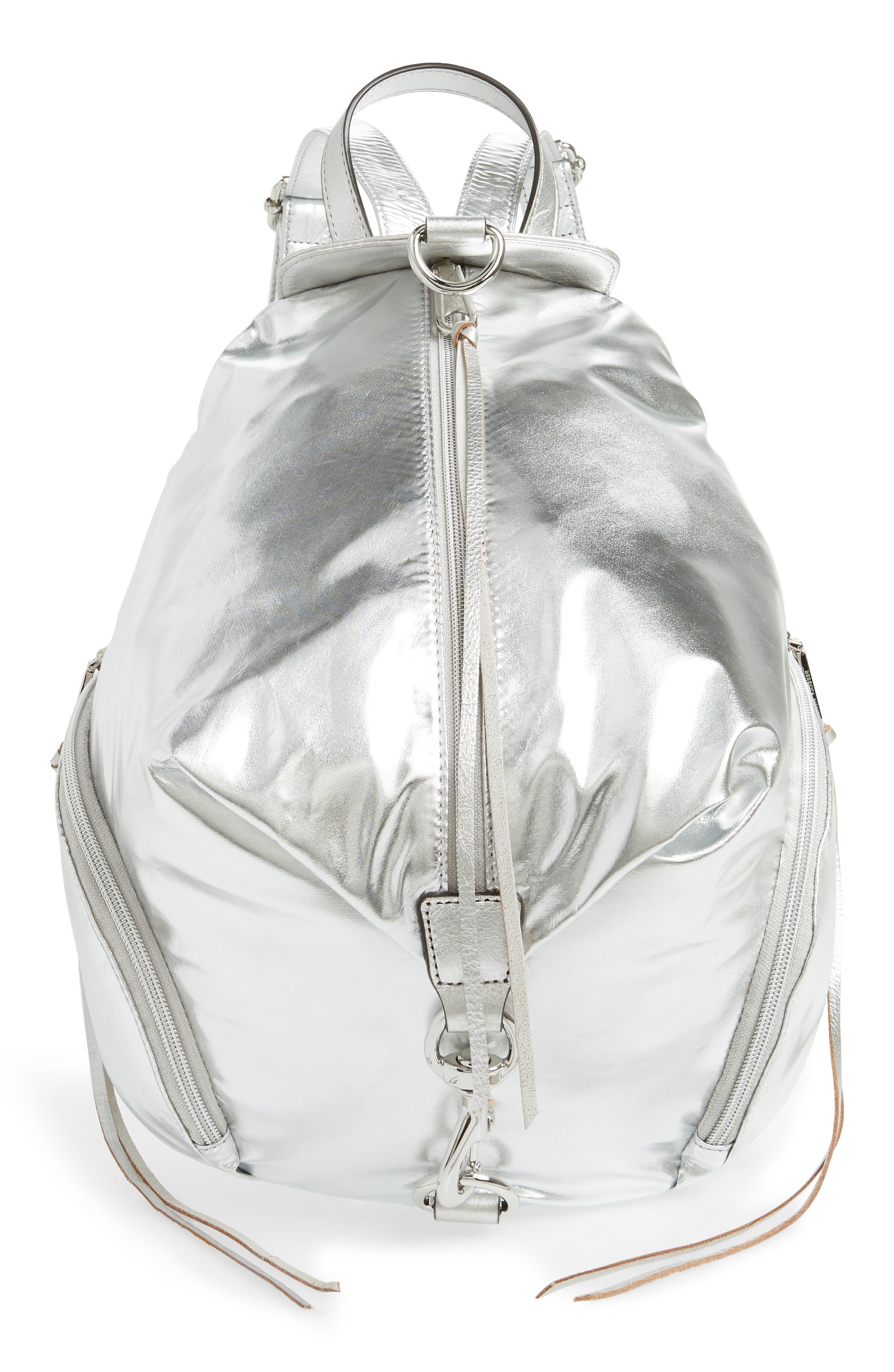 REBECCA MINKOFF Julian Nylon Backpack, Main, color, METALLIC SILVER