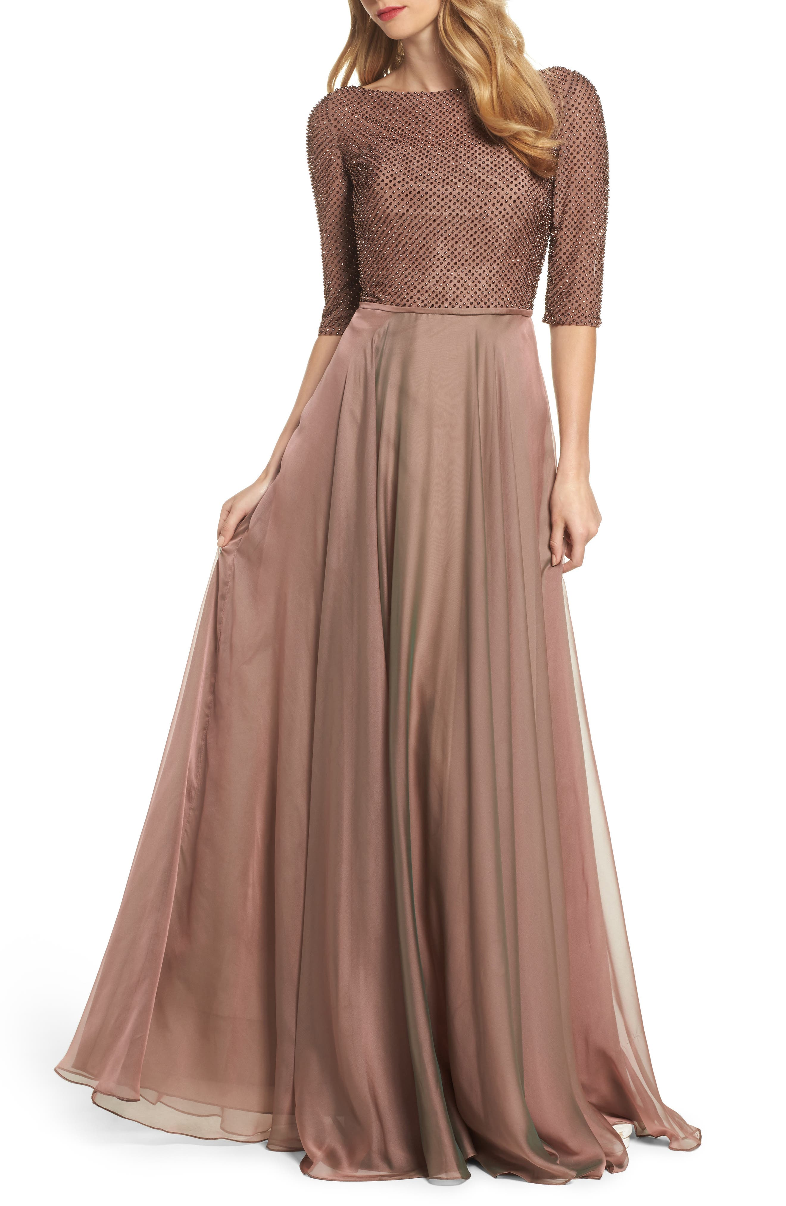 LA FEMME, Embellished Bodice Gown, Main thumbnail 1, color, COCOA