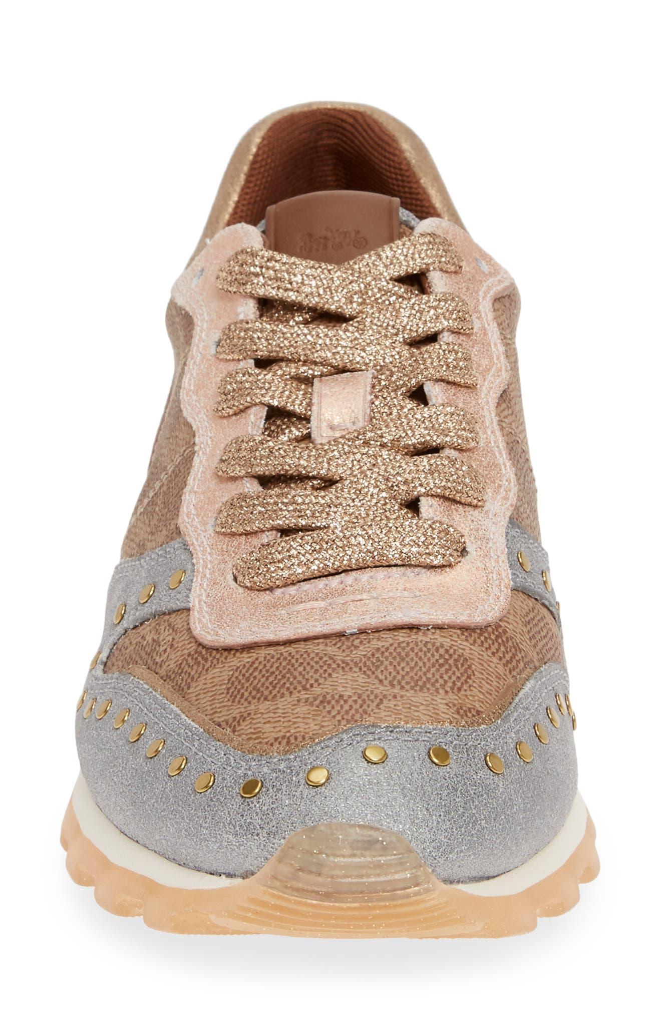 COACH, C118 Studded Sneaker, Alternate thumbnail 4, color, TAN/ GOLD MULTI