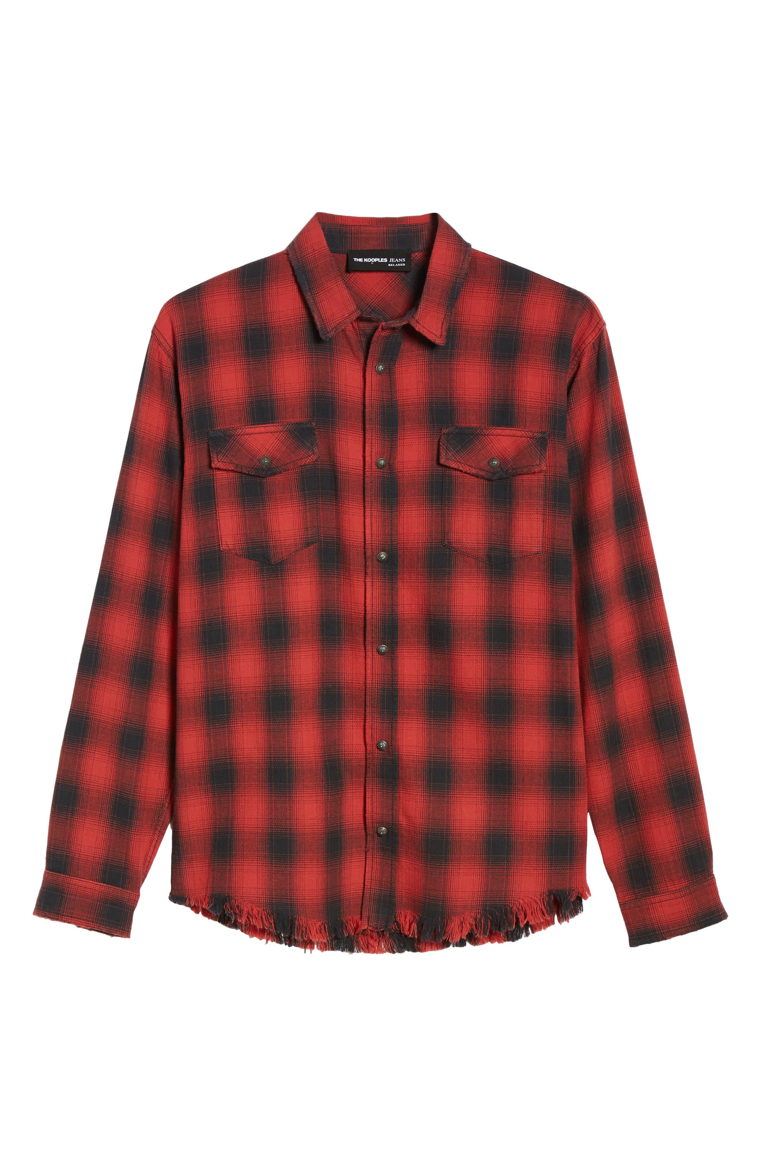 THE KOOPLES, Regular Fit Ombré Plaid Shirt, Alternate thumbnail 5, color, RED / BLACK
