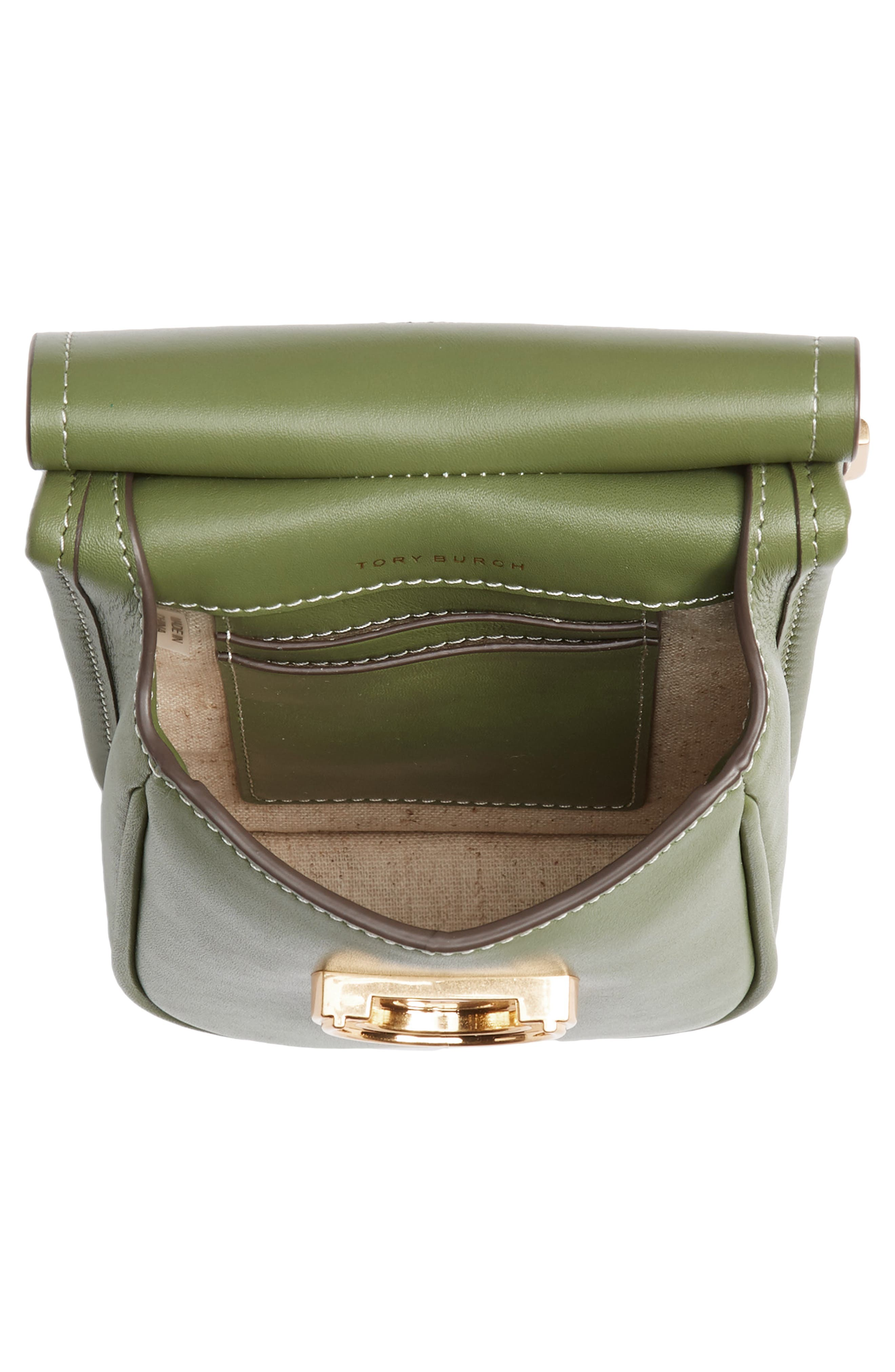 TORY BURCH, James Leather Phone Crossbody Bag, Alternate thumbnail 4, color, SPINACH