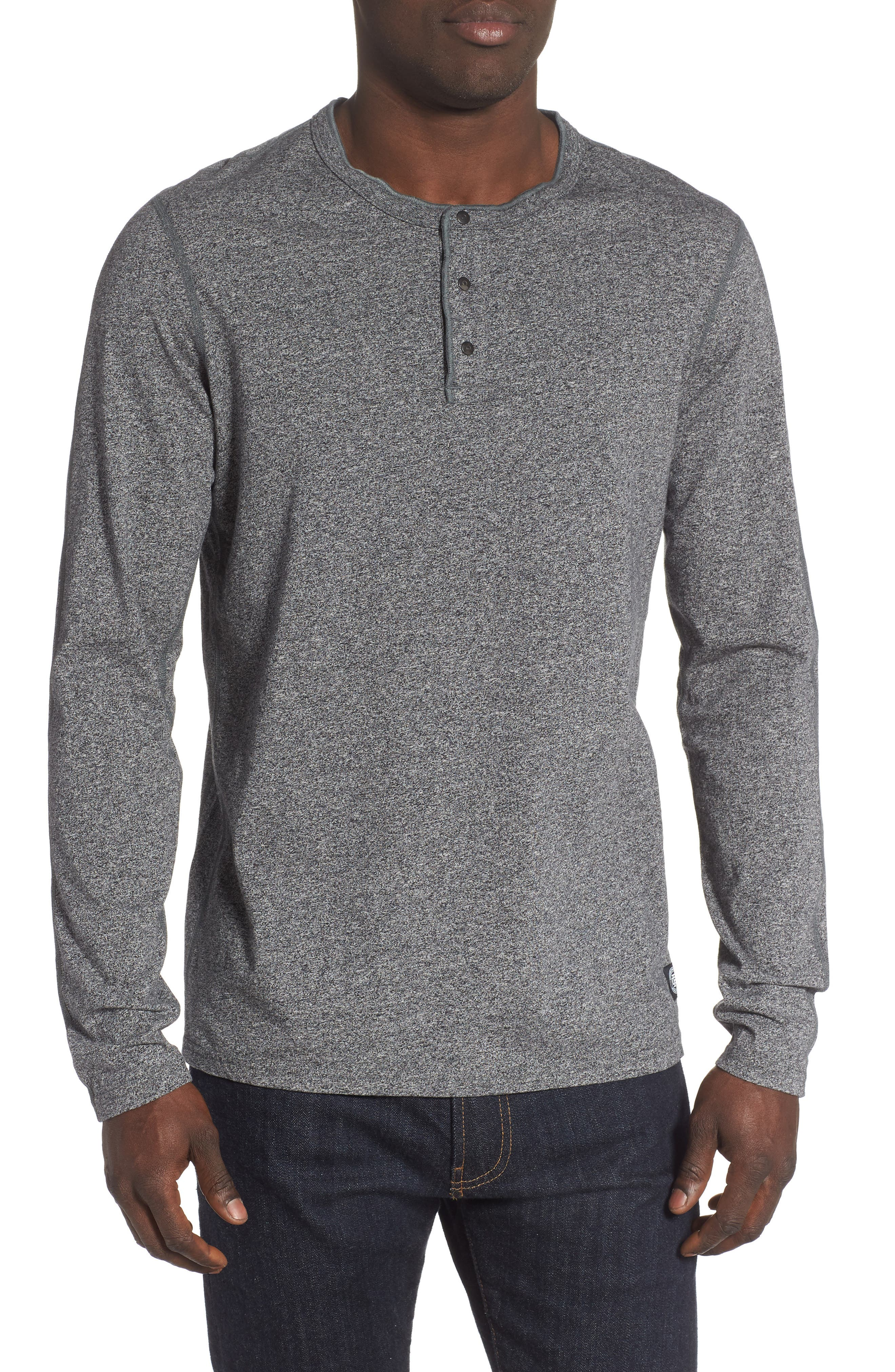 REIGNING CHAMP Long Sleeve Henley T-Shirt, Main, color, MEDIUM BLACK