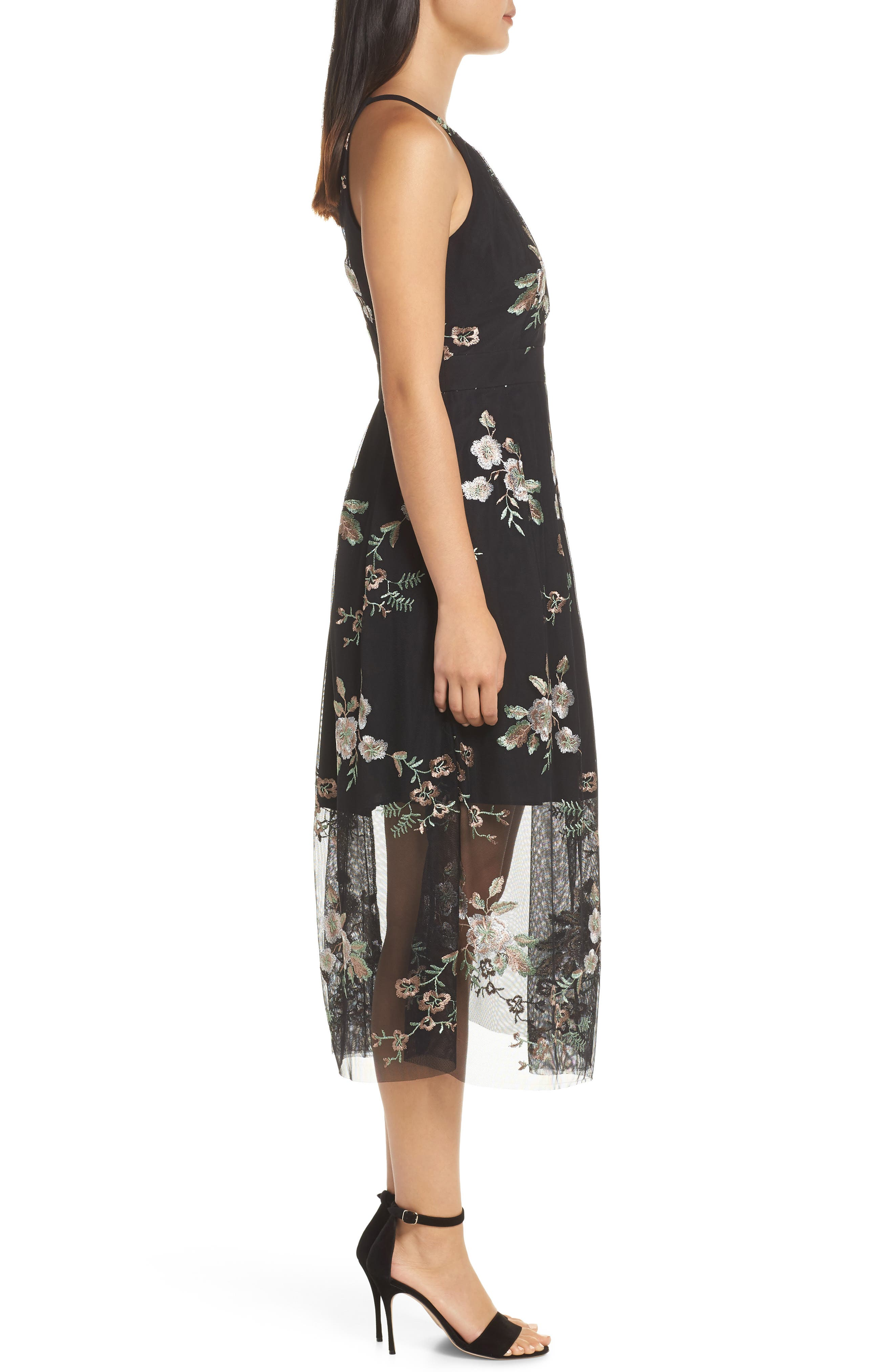 VINCE CAMUTO, Embroidered Mesh Midi Dress, Alternate thumbnail 4, color, 019