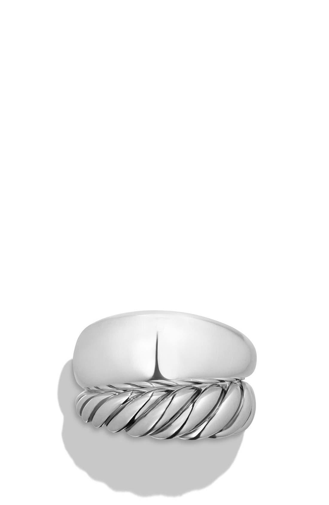 DAVID YURMAN, 'Pure Form' Two Row Ring, Alternate thumbnail 2, color, SILVER