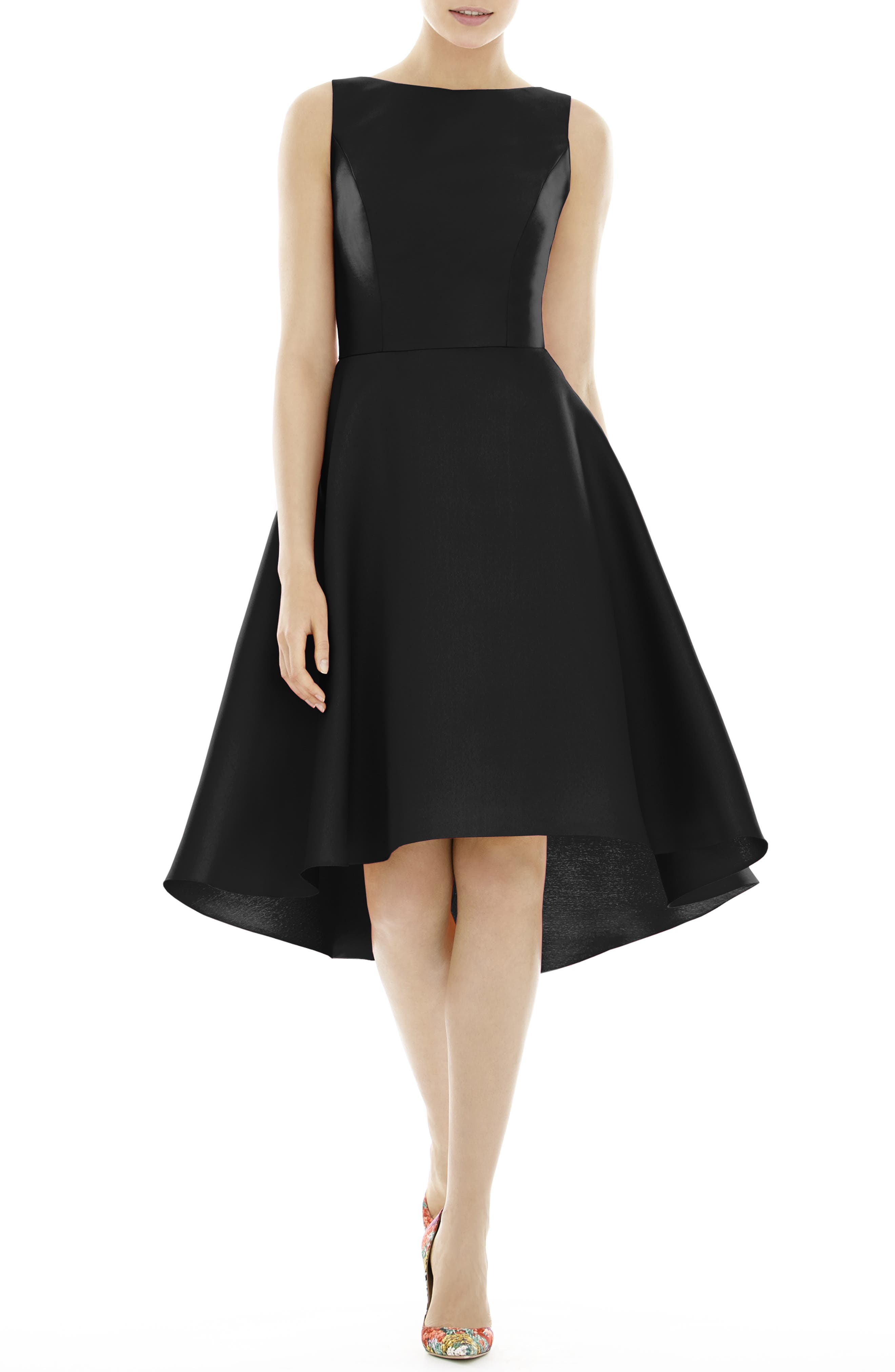 ALFRED SUNG, High/Low Satin Twill Cocktail Dress, Main thumbnail 1, color, BLACK