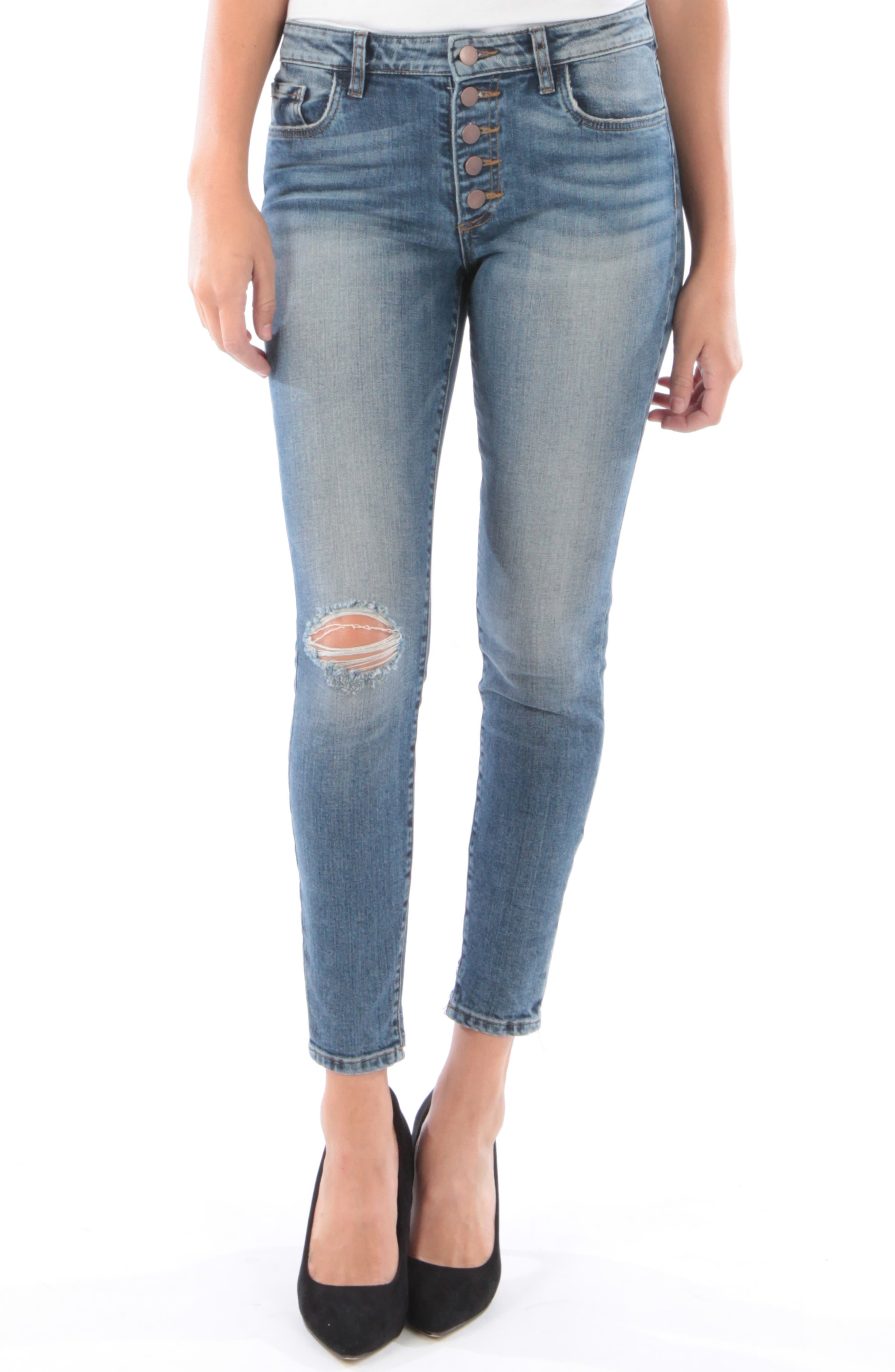 KUT FROM THE KLOTH, Donna Ripped High Waist Ankle Skinny Jeans, Main thumbnail 1, color, 402