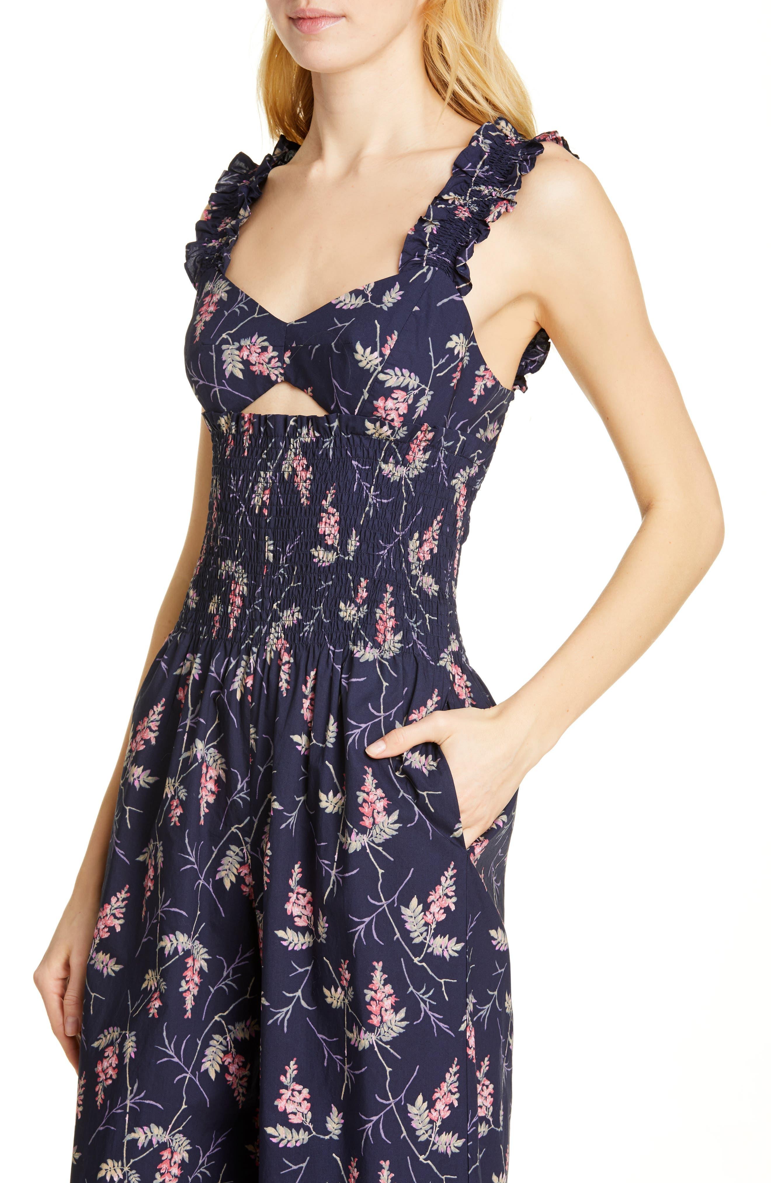 REBECCA TAYLOR, Ivie Floral Cotton Jumpsuit, Alternate thumbnail 4, color, NAVY COMBO