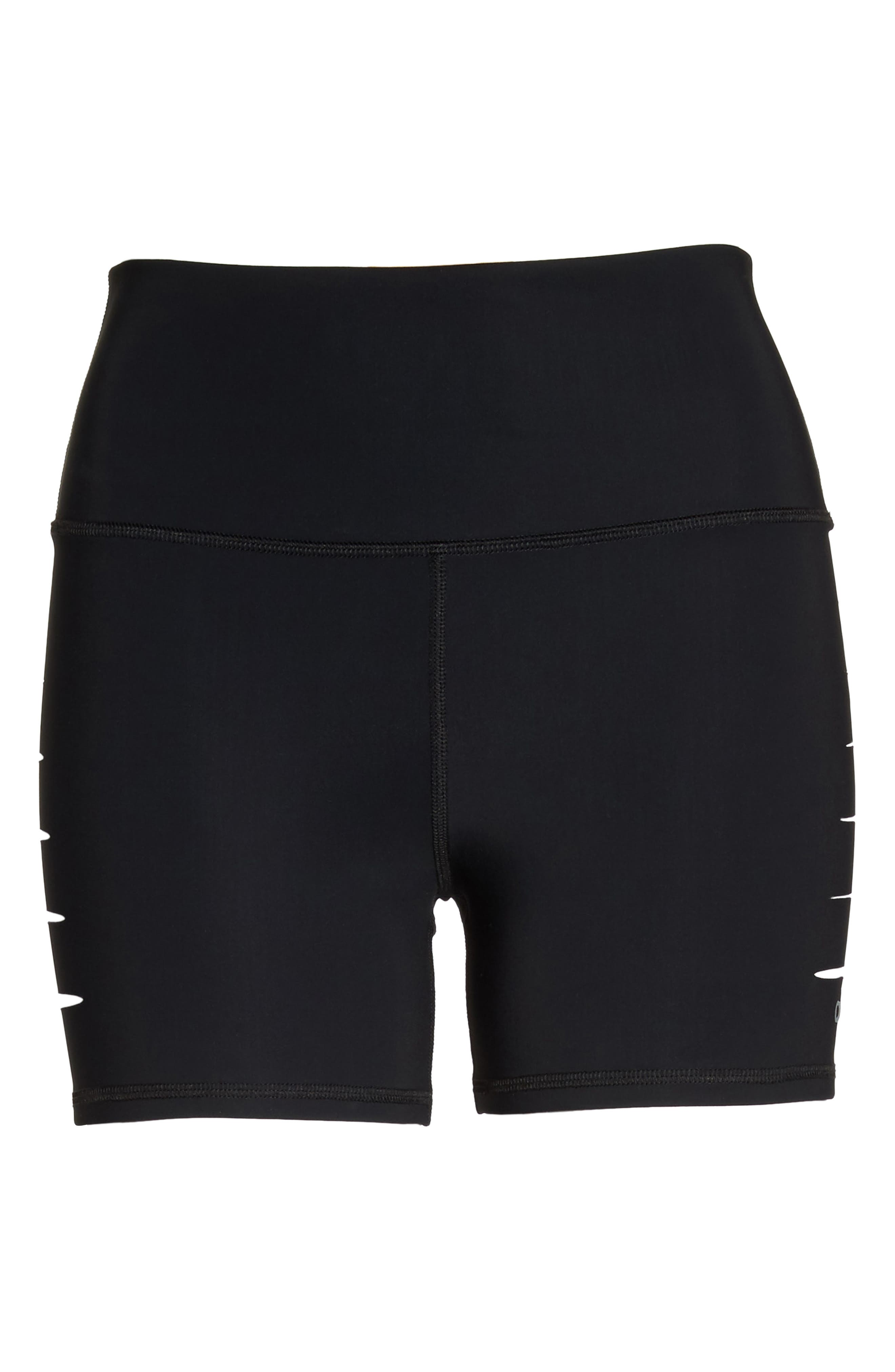 ALO, Ripped High Waist Shorts, Alternate thumbnail 6, color, BLACK