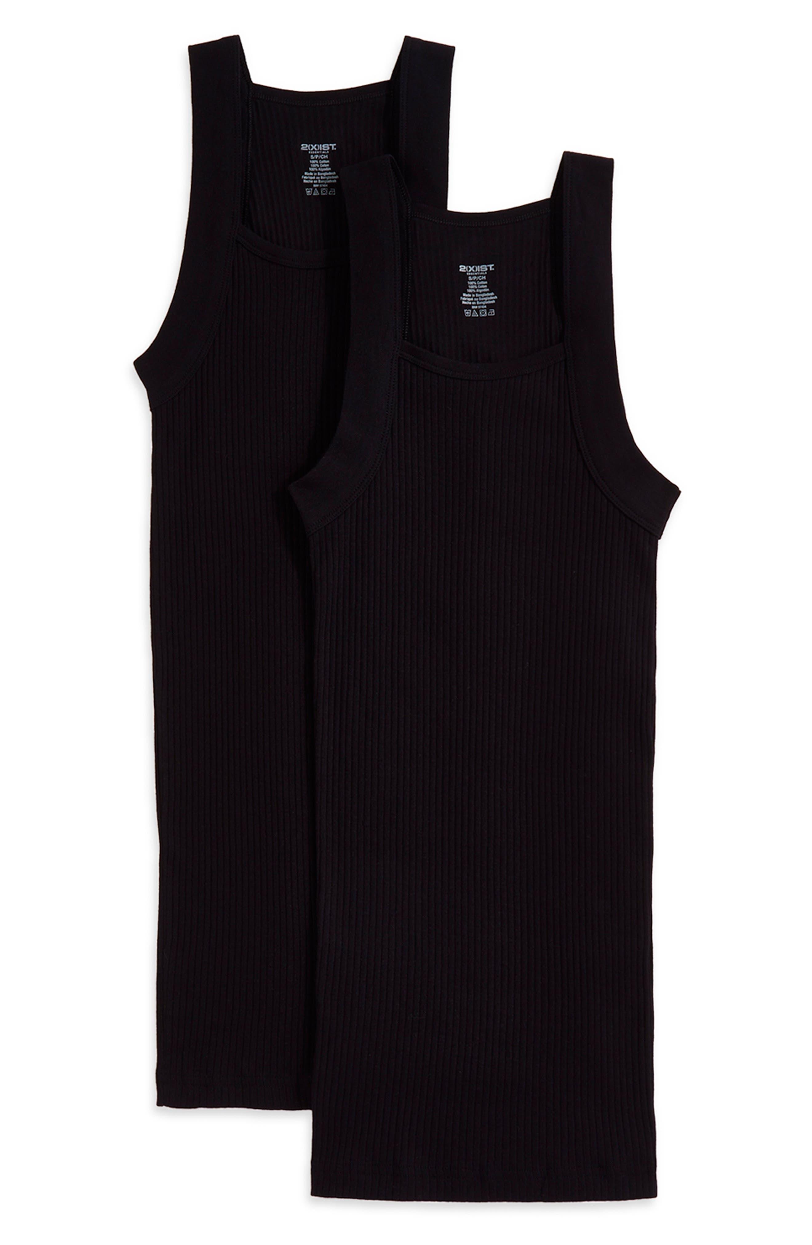 2(X)IST, 2-Pack Cotton Tank Top, Main thumbnail 1, color, BLACK NEW LOGO