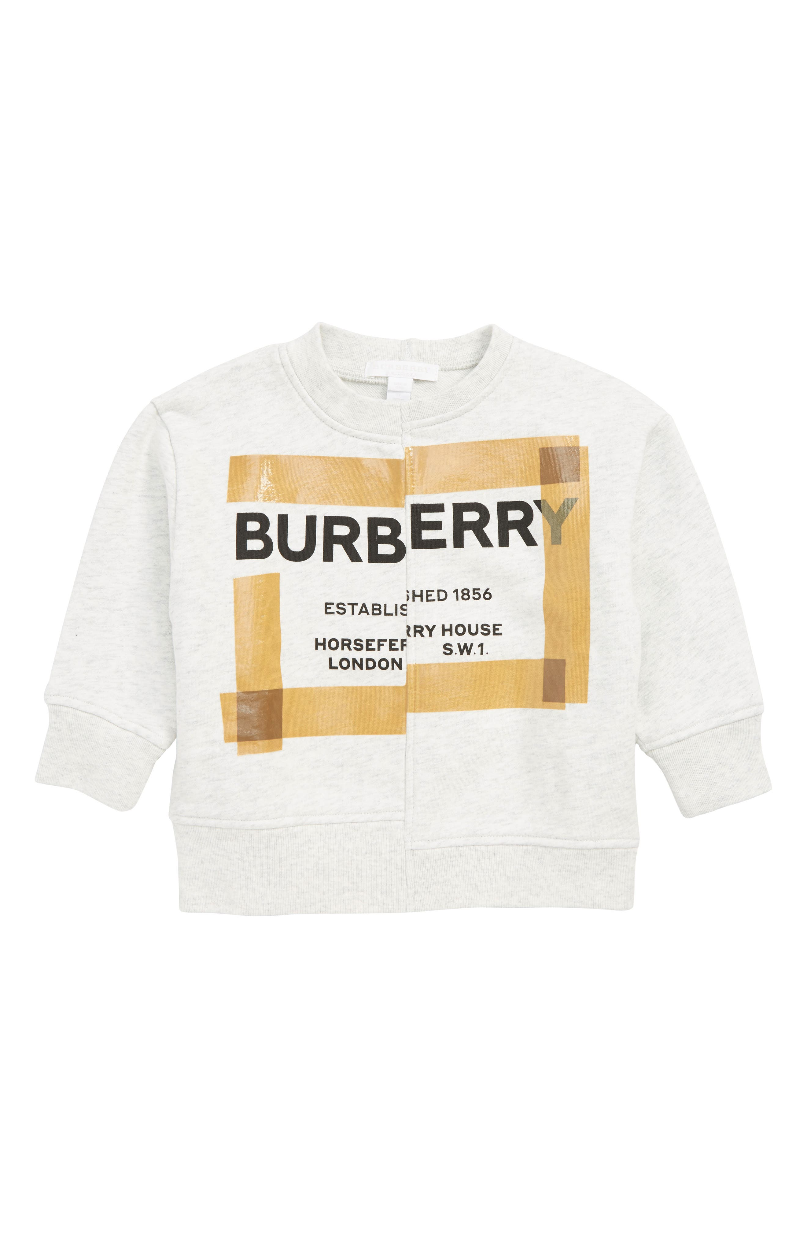 BURBERRY, Patch Logo Sweatshirt, Main thumbnail 1, color, WHITE MELANGE