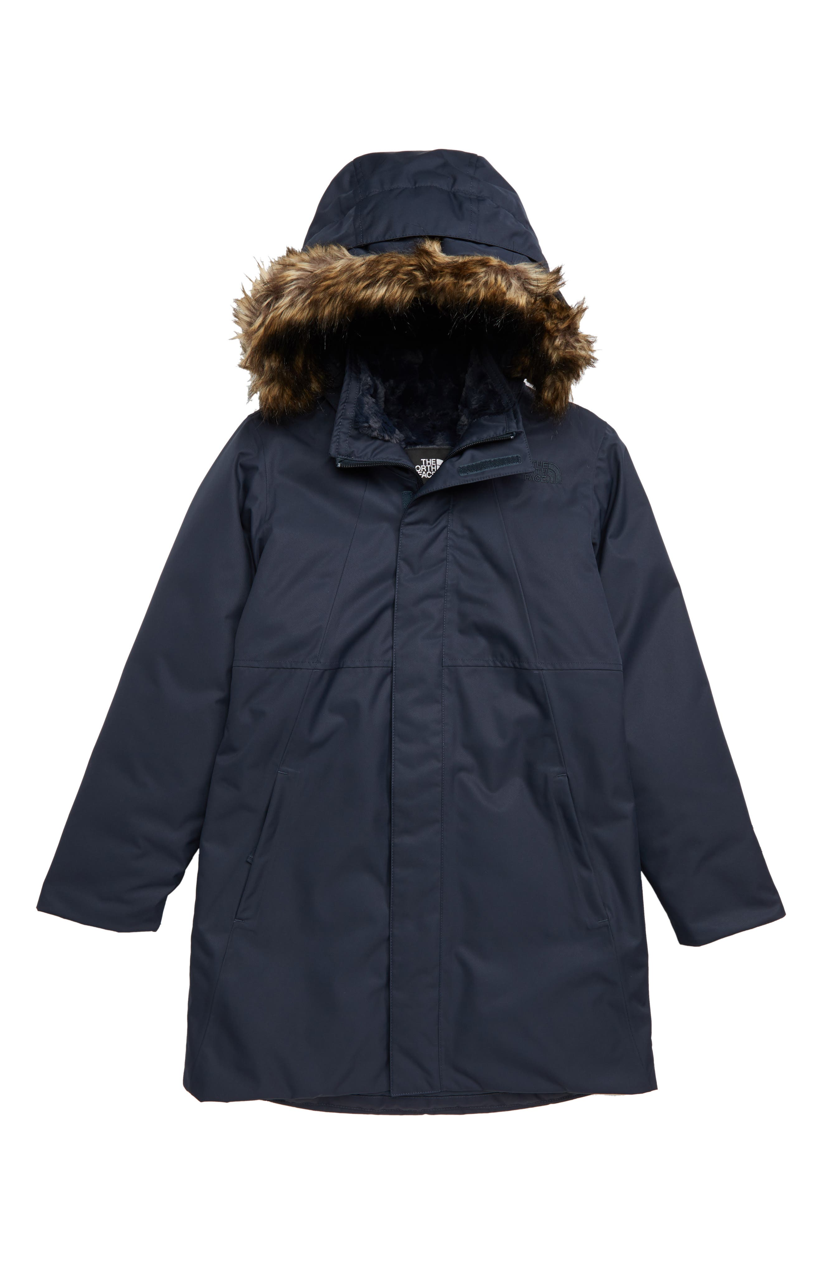 THE NORTH FACE Arctic Swirl Waterproof 550-Fill-Power Down Parka, Main, color, URBAN NAVY