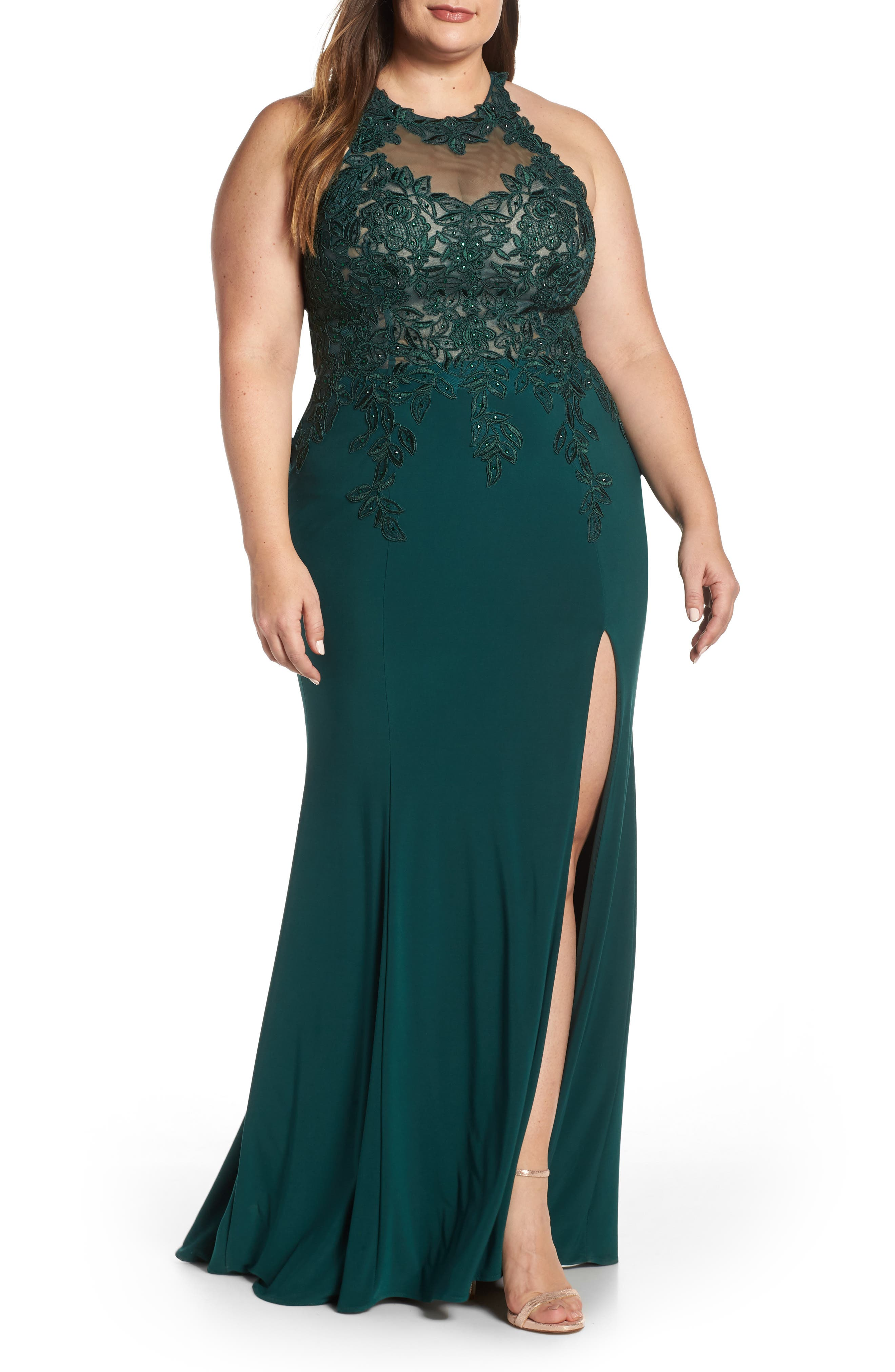 XSCAPE, Embroidered Slit Dress, Main thumbnail 1, color, HUNTER