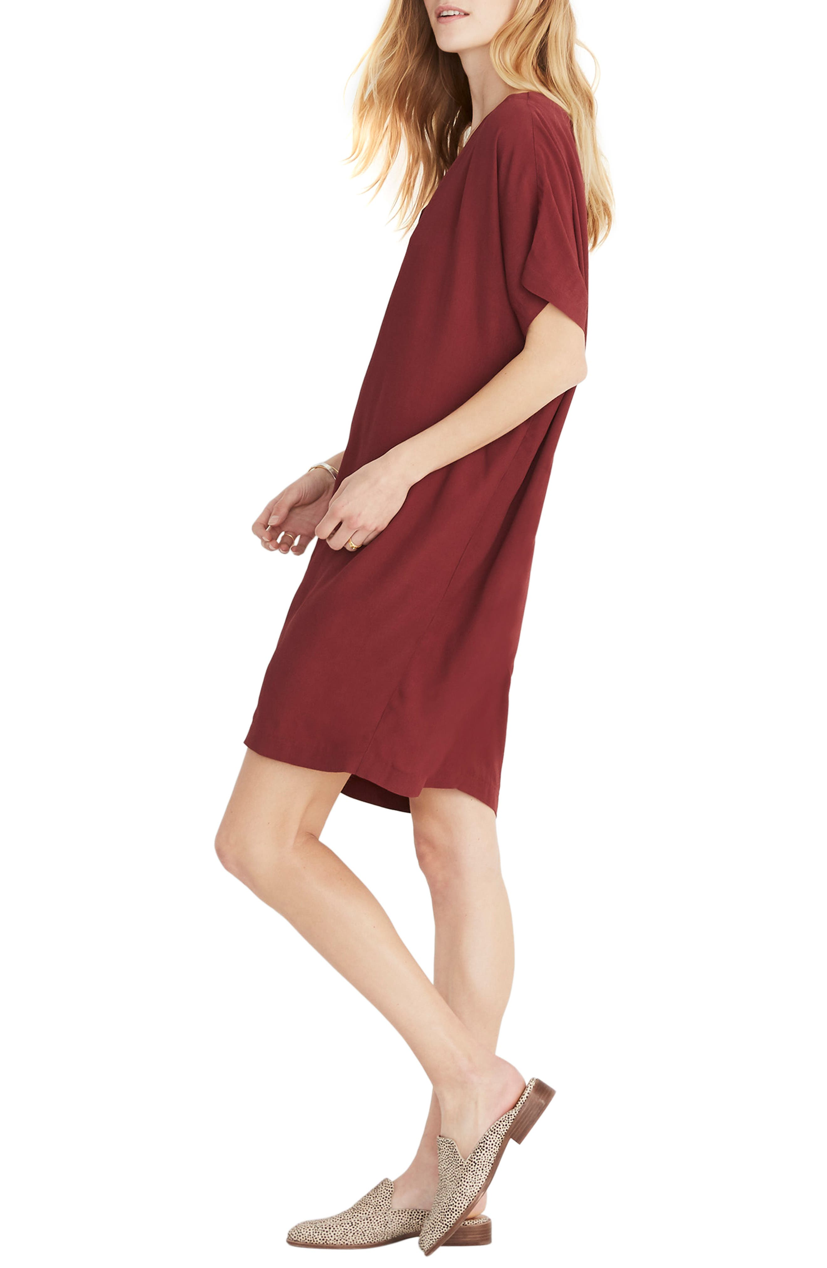 MADEWELL, Button Front Easy Dress, Alternate thumbnail 5, color, RICH BURGUNDY